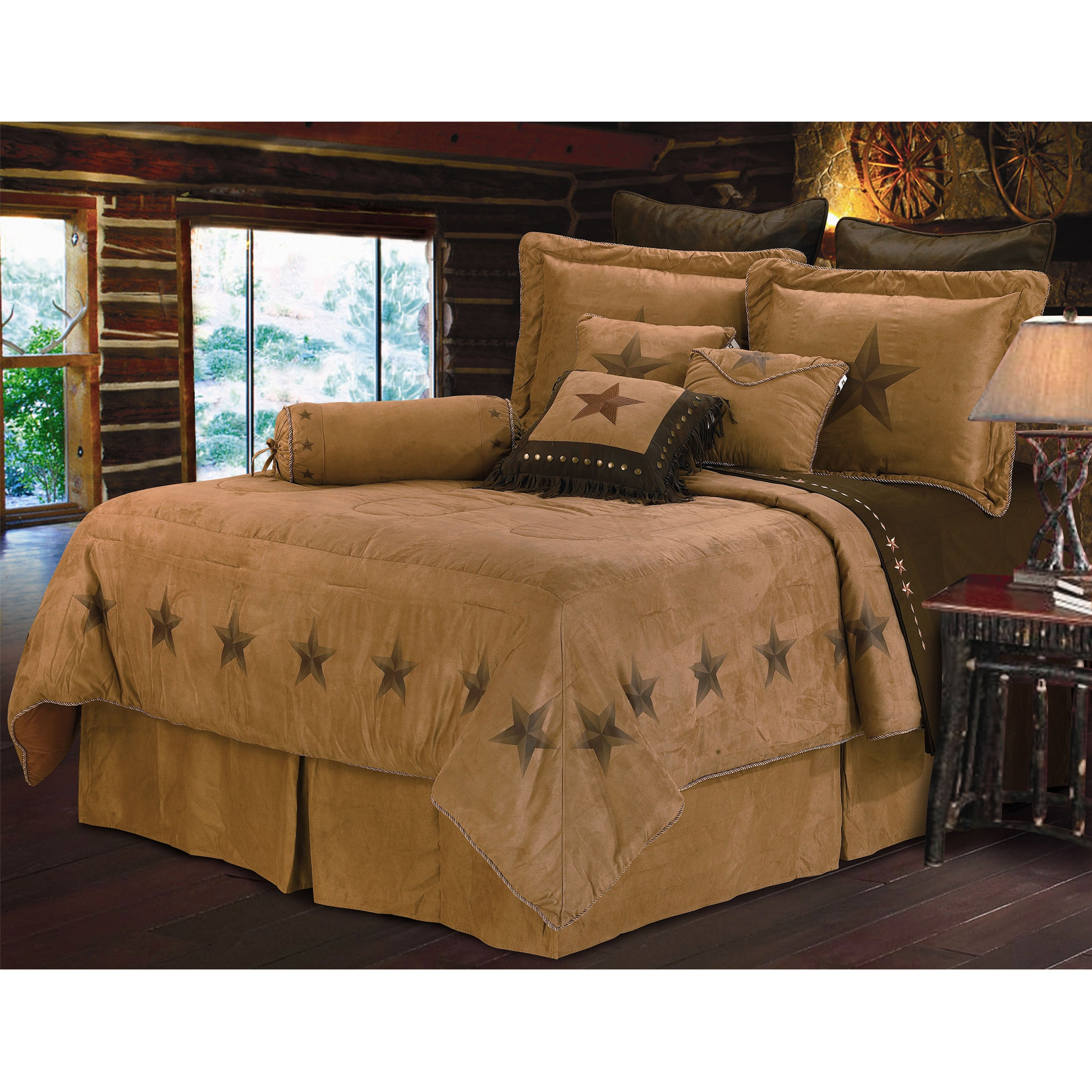 Shop hiend accents luxury star brown faux suede 7 piece comforter set free shipping today overstock com 10119316