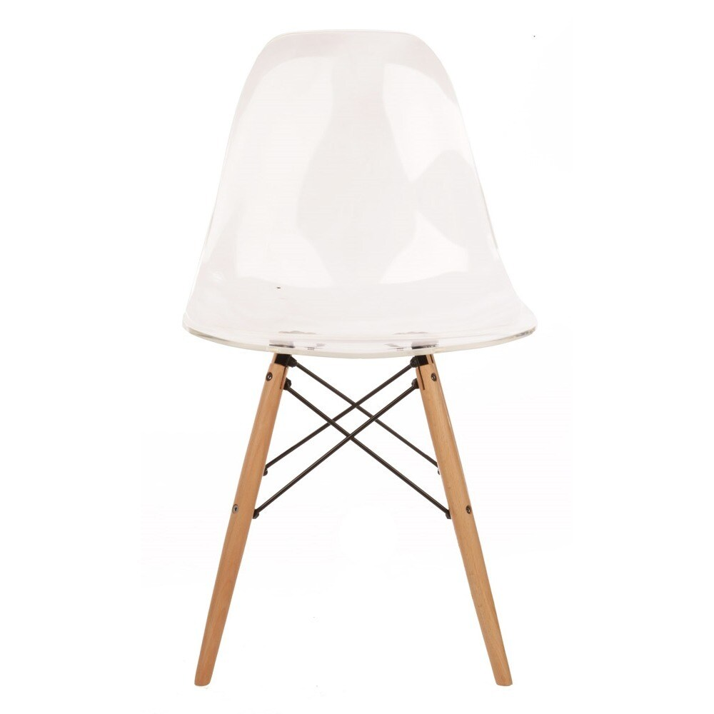 Shop Clear Plastic Dining Chair With Wood Eiffel Legs (China)   Free  Shipping Today   Overstock.com   10119917