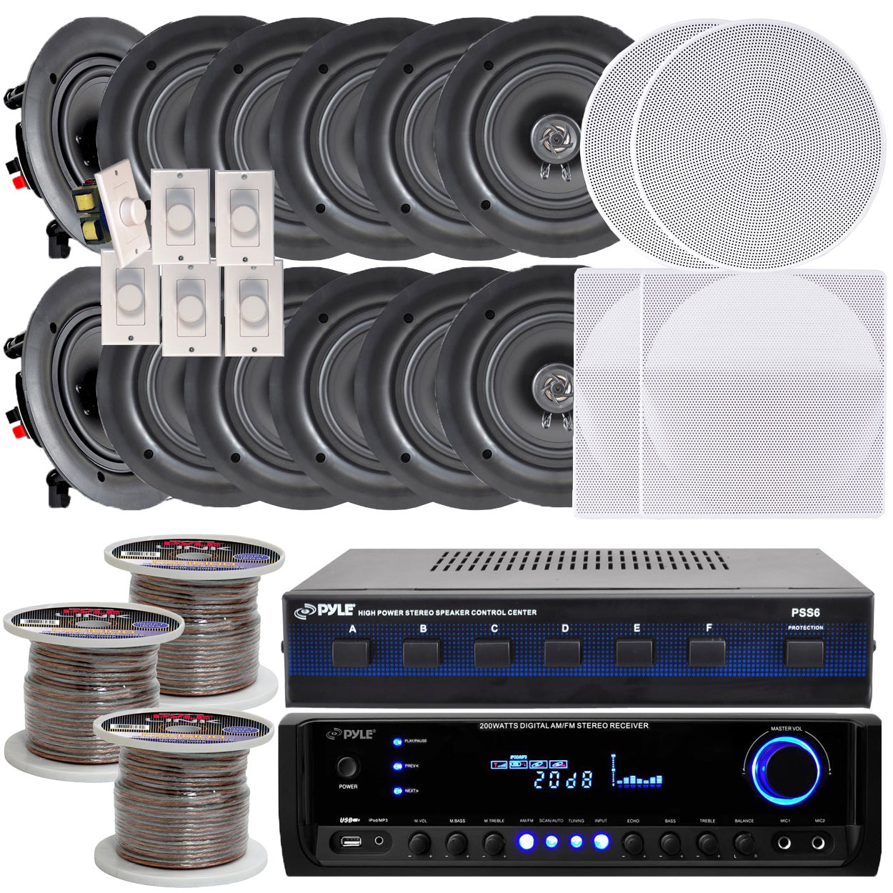 Pyle KTHSP370 6-room In-wall/ Ceiling 5 25-inch Speaker System with  Receiver/ Volume Controls/ Speaker Selector/ 300-foot Wire
