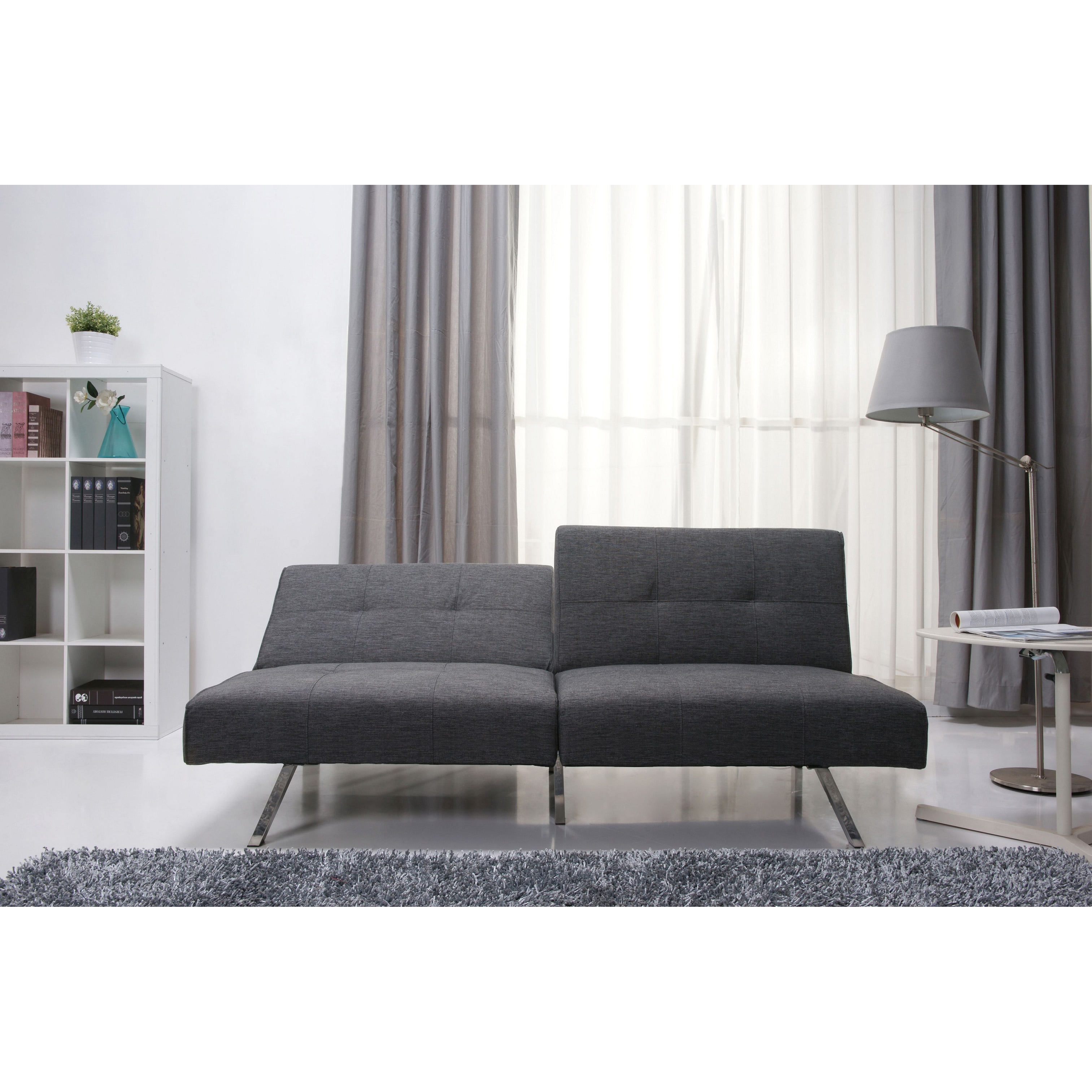 Shop Victorville Grey Foldable Futon Sofa Bed   Free Shipping Today    Overstock.com   10120848