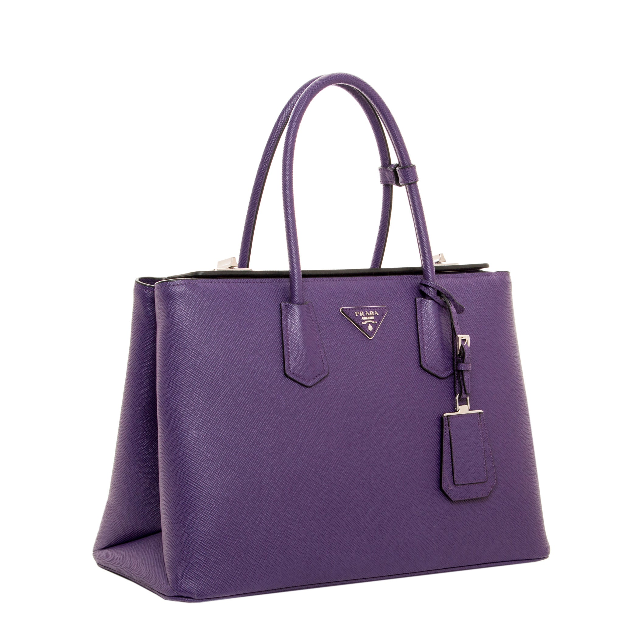 d5a3f441f8bc0a Shop Prada Large City Calf Turn-Lock Twin Bag - Free Shipping Today -  Overstock.com - 10123052