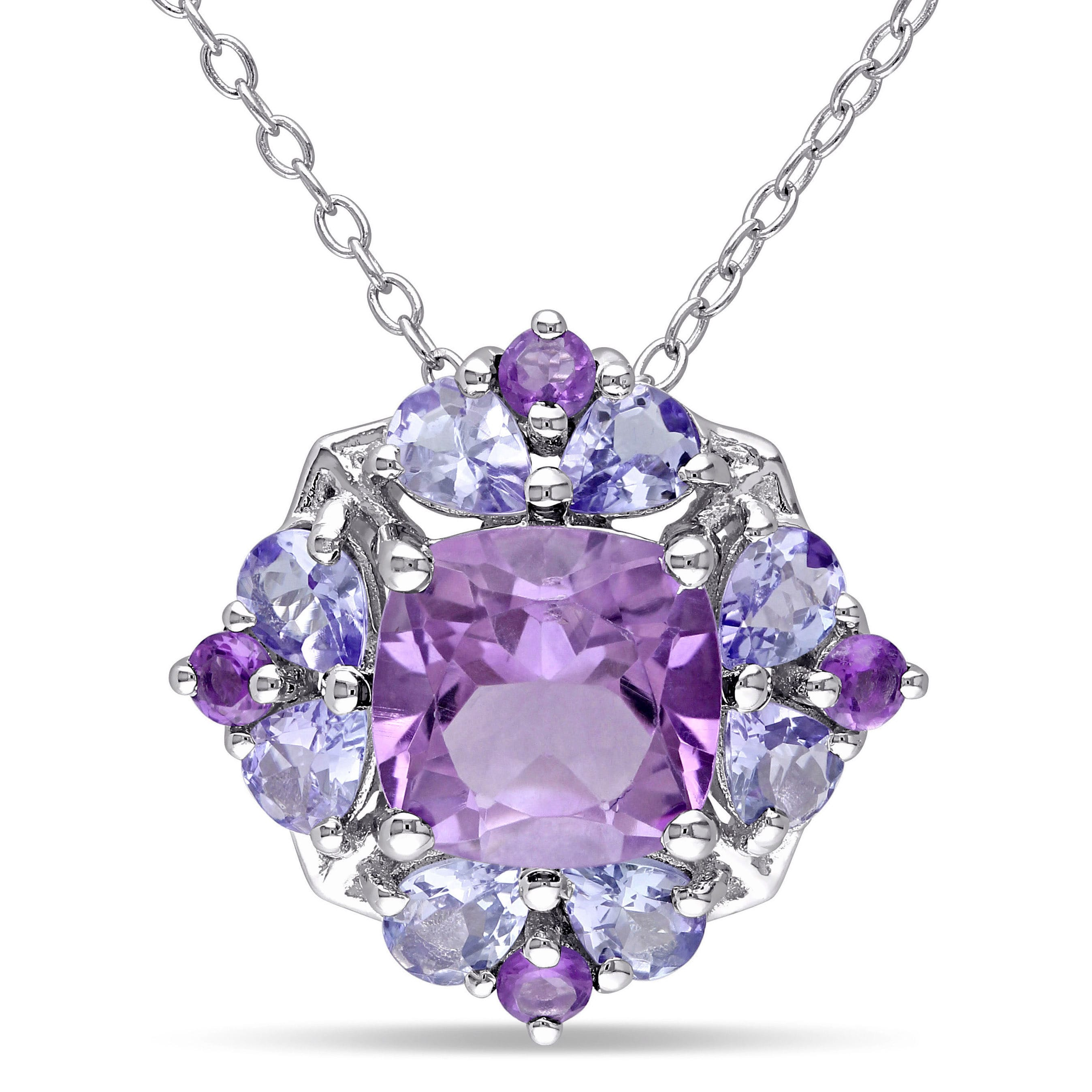 necklace rose tw gold in tanzanite diamonds with