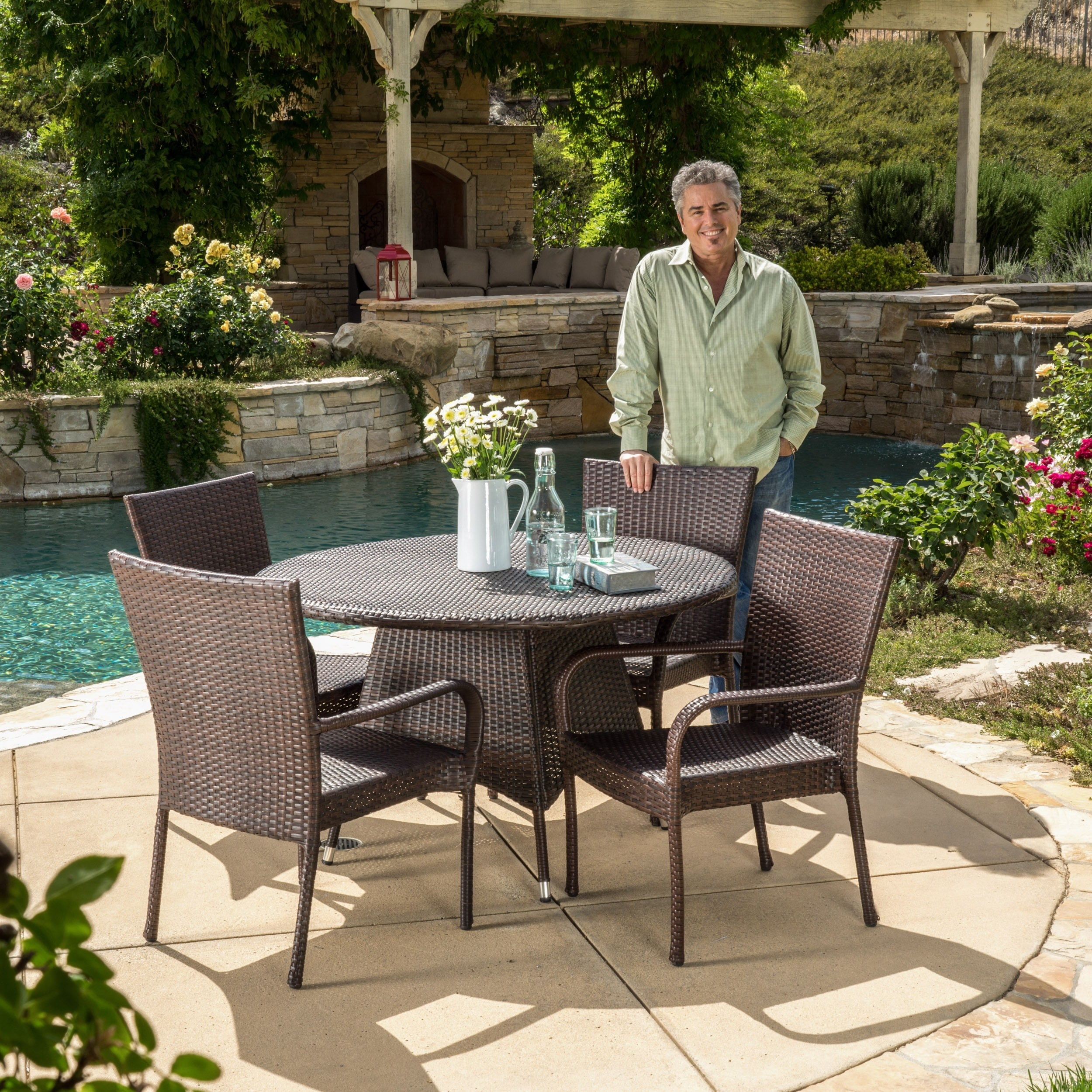 Shop Grant Outdoor 5 Piece Wicker Dining Set By Christopher Knight