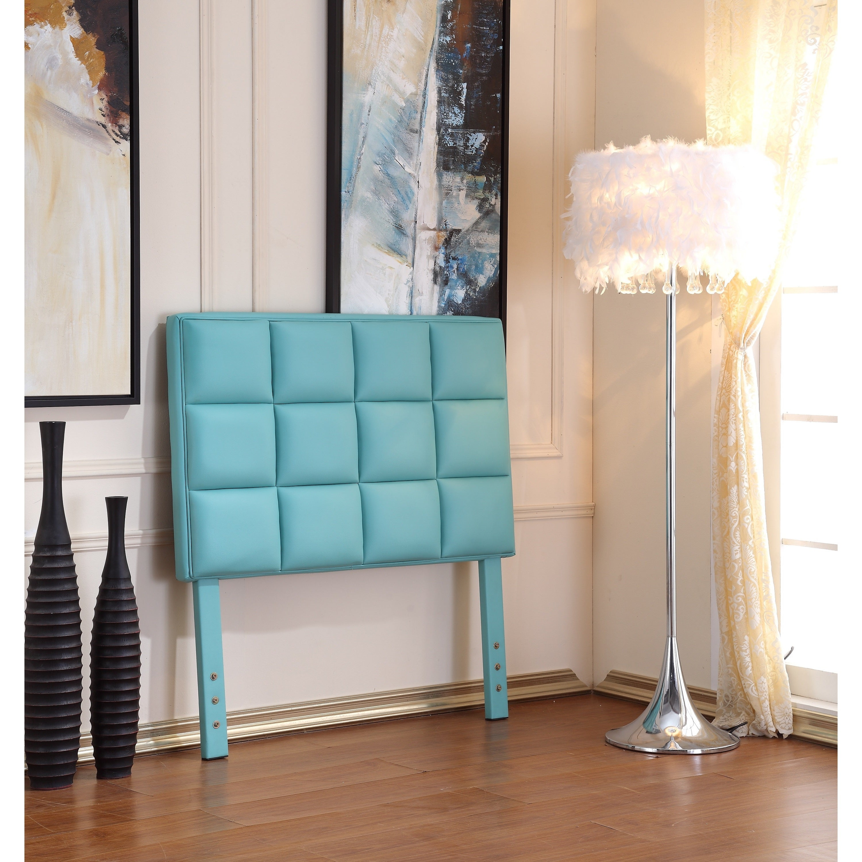 Shop Modern Twin Blue Tufted Headboard  Free Shipping Today