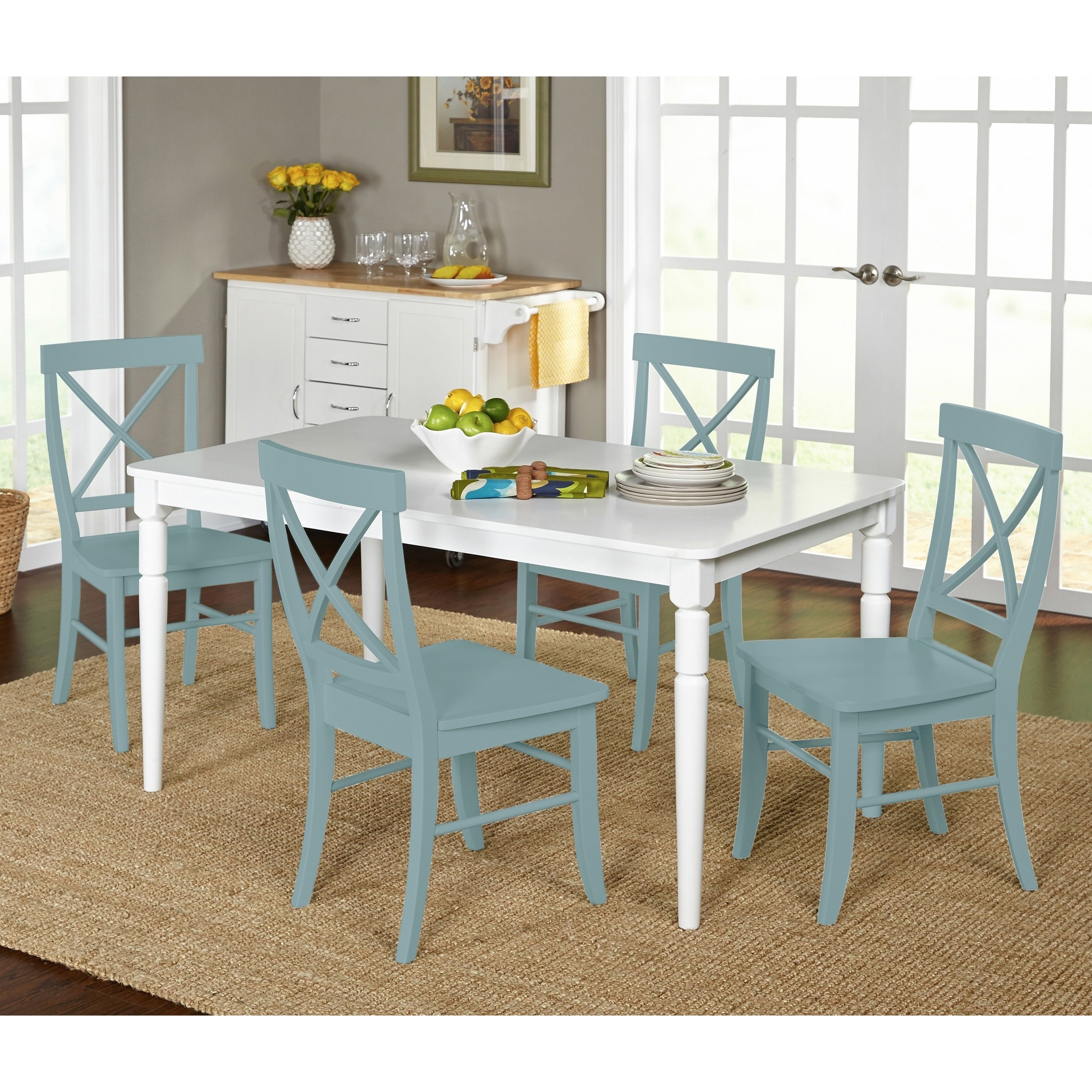Simple Living 5 Piece Albury Cross Back Dining Set   Free Shipping Today    Overstock   17262406