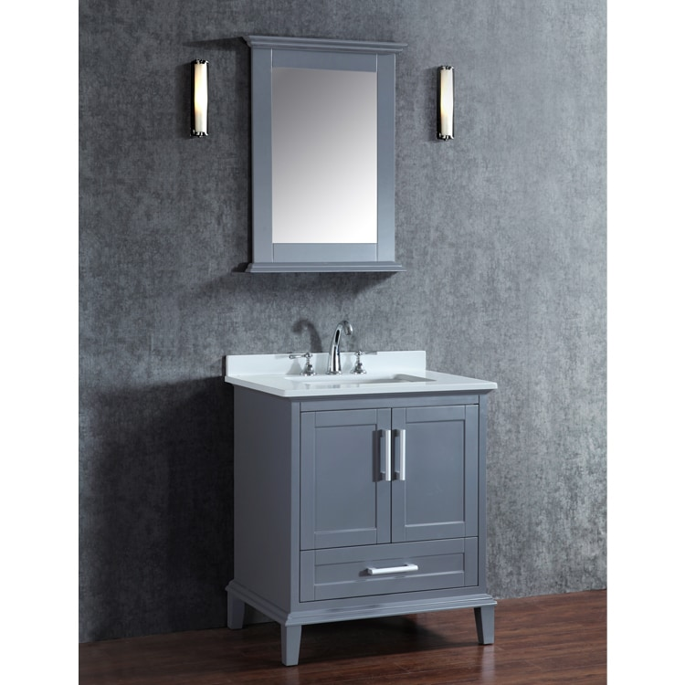 Nantucket 30 Inch Whale Grey Free Standing Single Sink Bathroom Vanity And Mirror Set Shipping Today 10128866