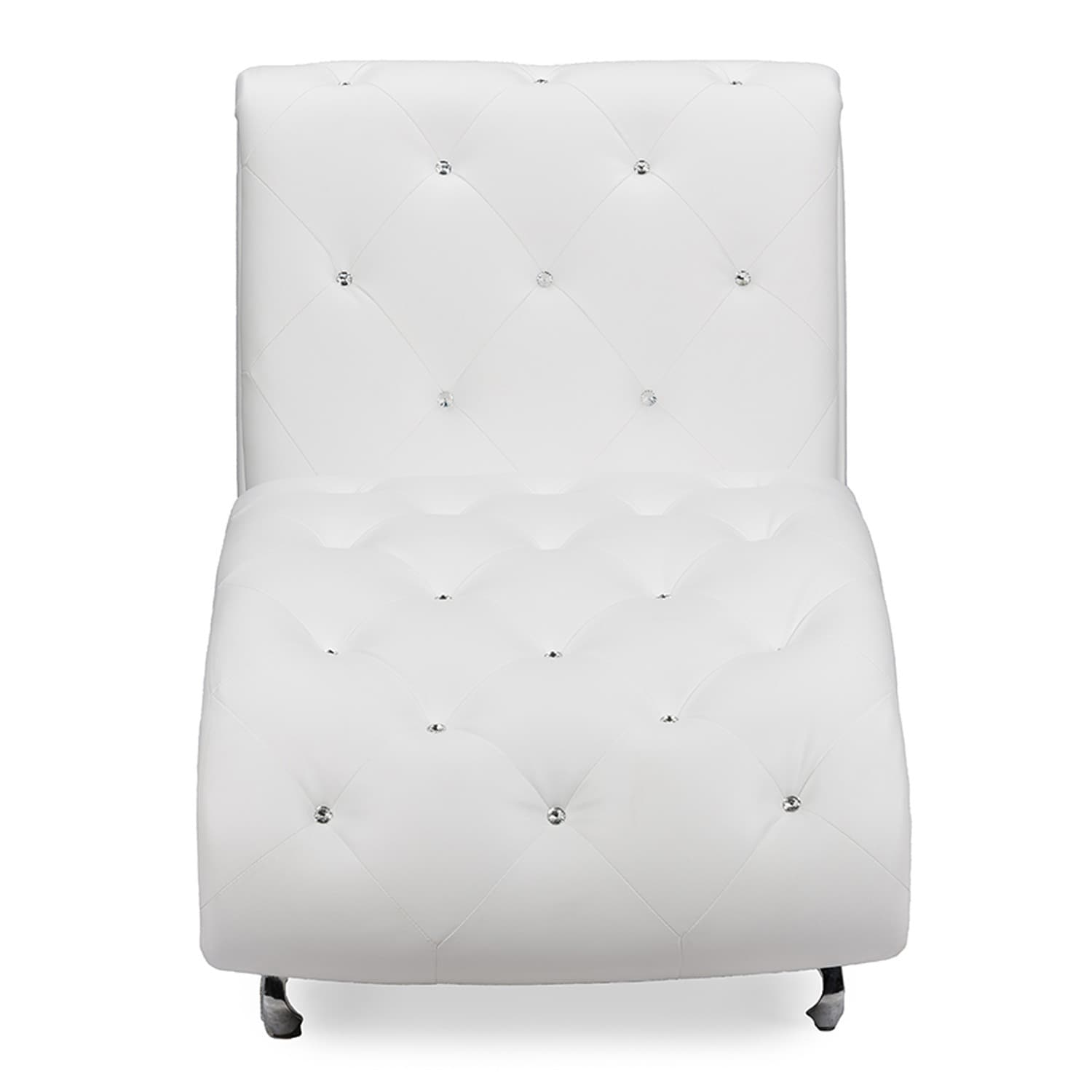 Shop Baxton Studio Pease Contemporary White Faux Leather Upholstered  Crystal Button Tufted Chaise Lounge   Free Shipping Today   Overstock.com    10129159