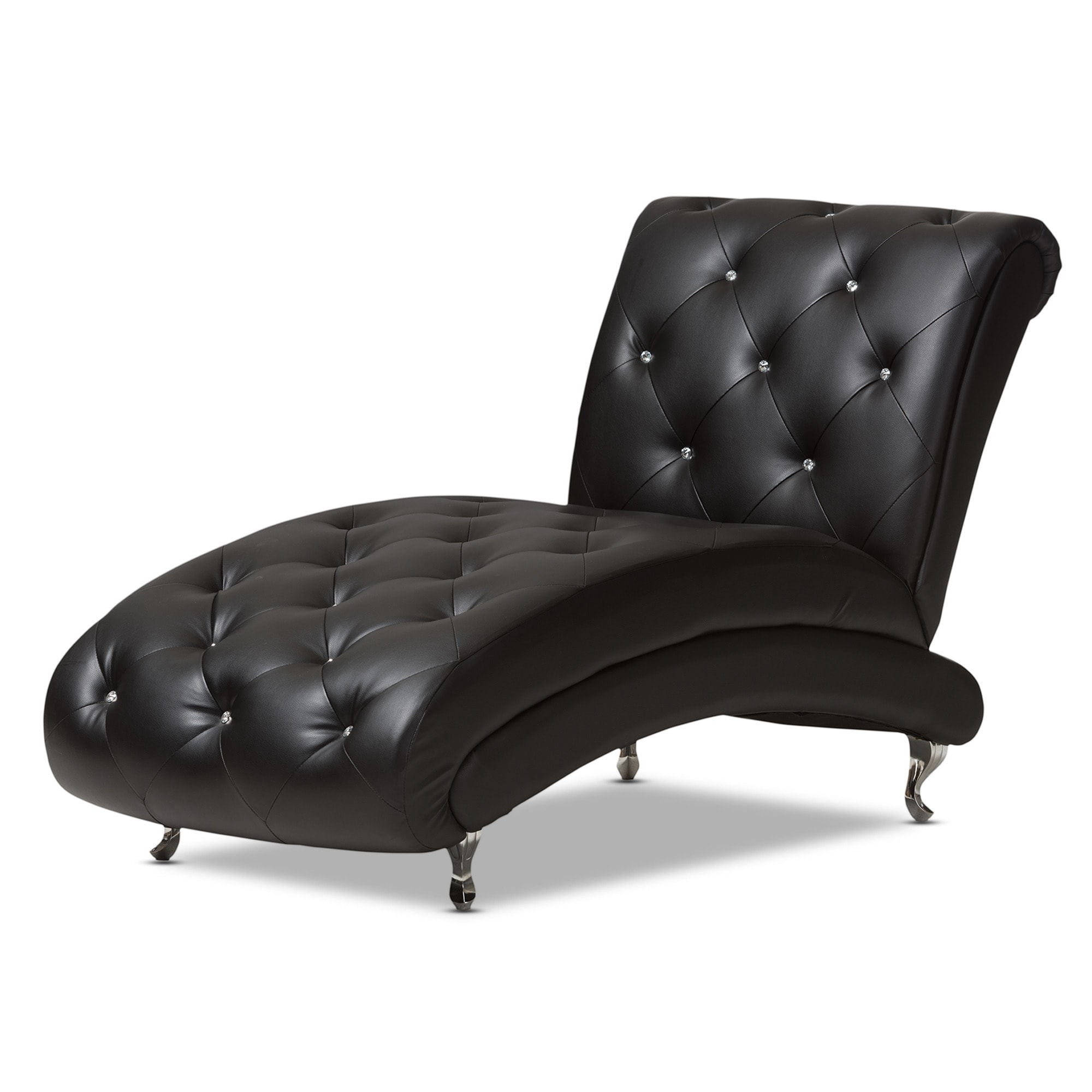 baxton studio pease contemporary black faux leather crystal tufted chaiselounge  free shipping today  overstockcom  . baxton studio pease contemporary black faux leather crystal tufted
