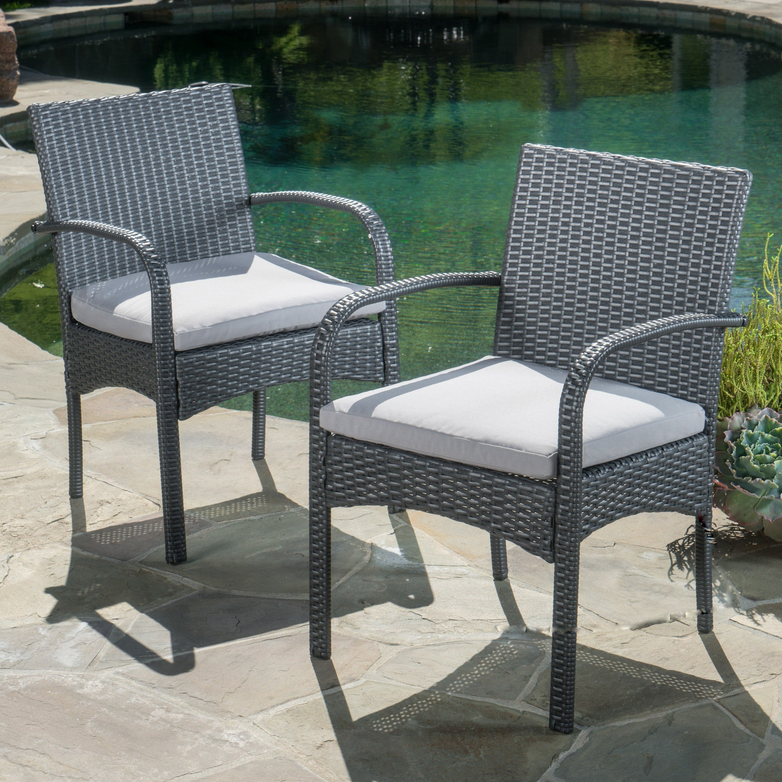 Peterson Outdoor 3-piece Wicker Bistro Set with Cushions by ...