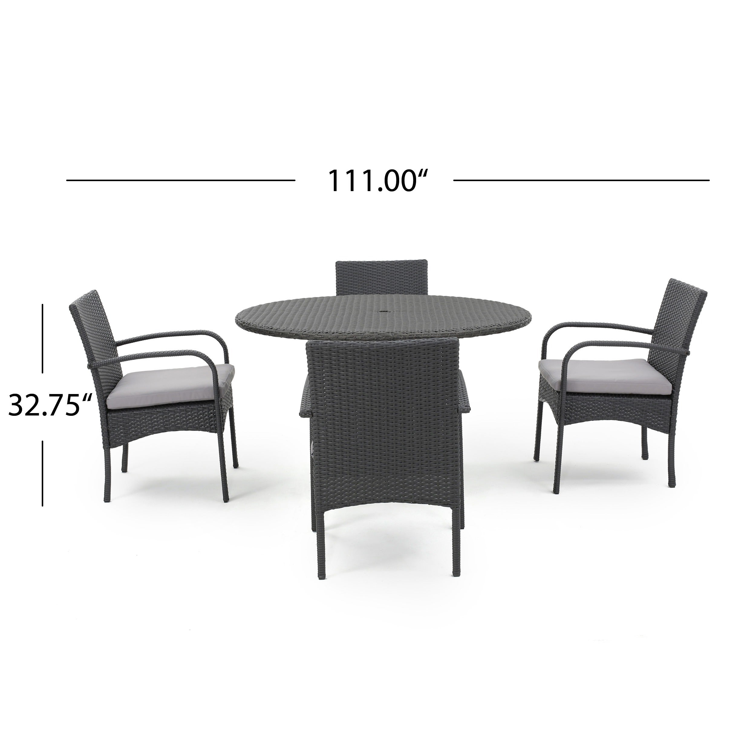 Theodore Outdoor 5-piece Wicker Dining Set with Cushion by ...