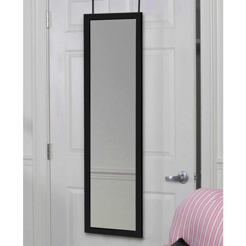 Beautiful Over The Door Glass/Wood Full Length 48 X 14 X 1.5 Inch Dressing Mirror    Free Shipping Today   Overstock   17268656