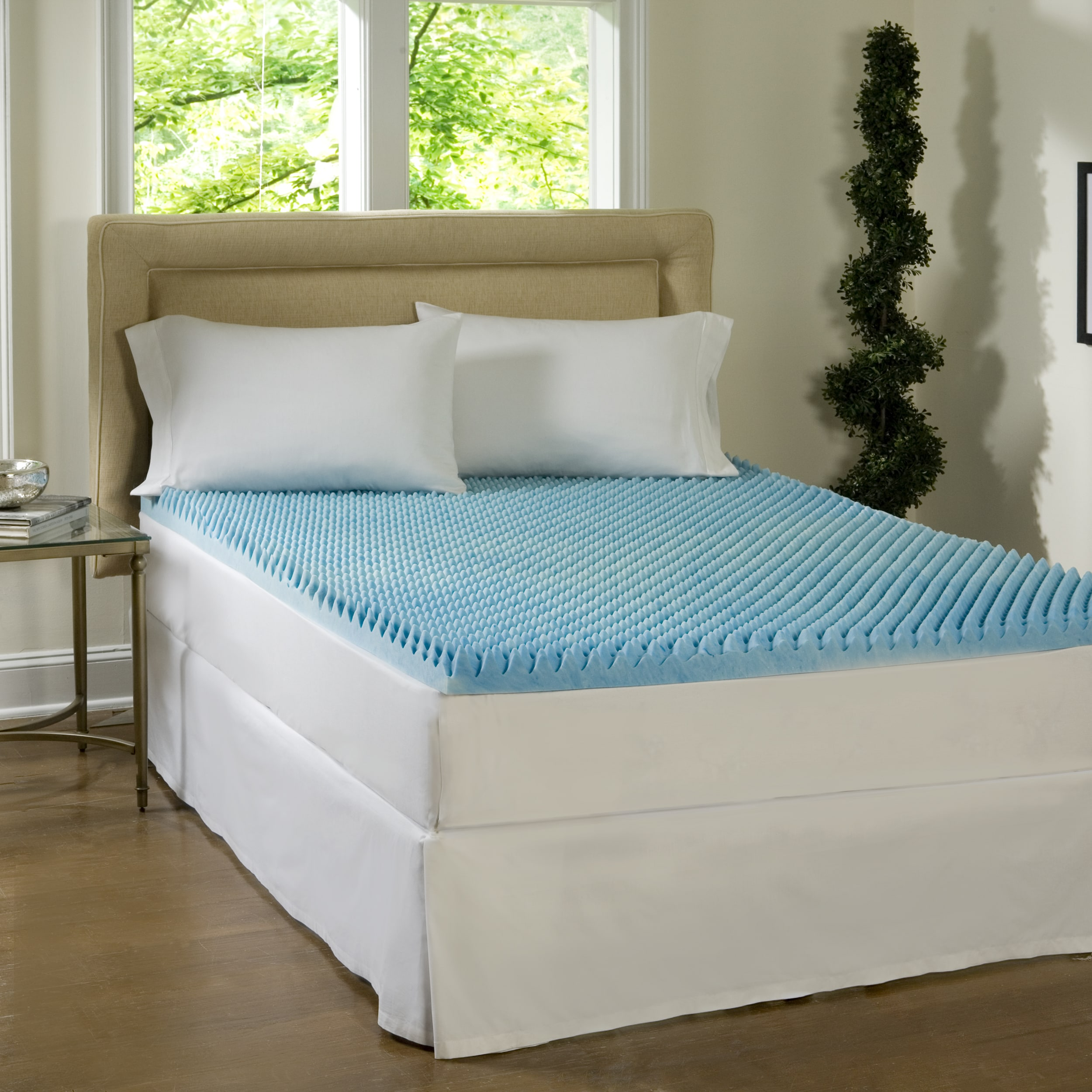 inch product simmons curv polysilk today shipping cover with bedding bath topper gel overstock free mattress memory sculpted foam