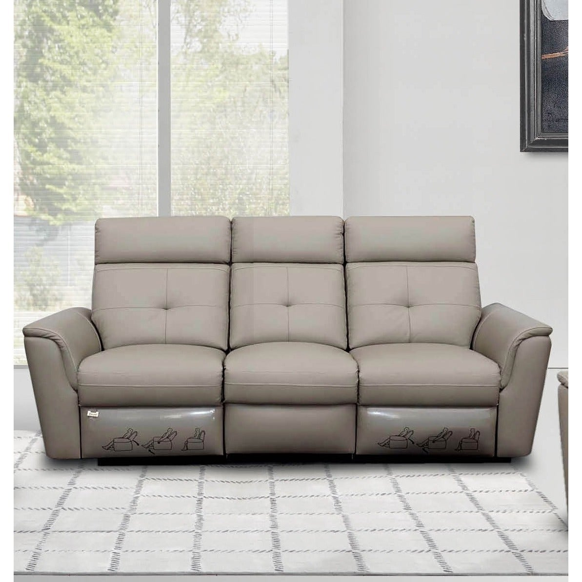 Shop luca home light grey contemporary manual reclining sofa free shipping today overstock com 10136122