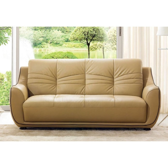 Exceptionnel Shop Luca Home Cappuccino Italian Leather Sofa   Free Shipping Today    Overstock.com   10136137