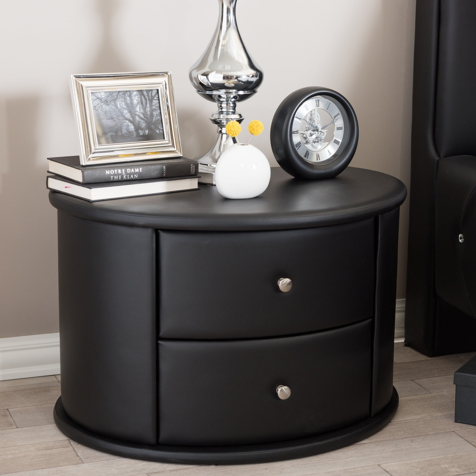 Shop baxton studio ritchie black faux leather oval upholstered modern nightstand free shipping today overstock com 10137297