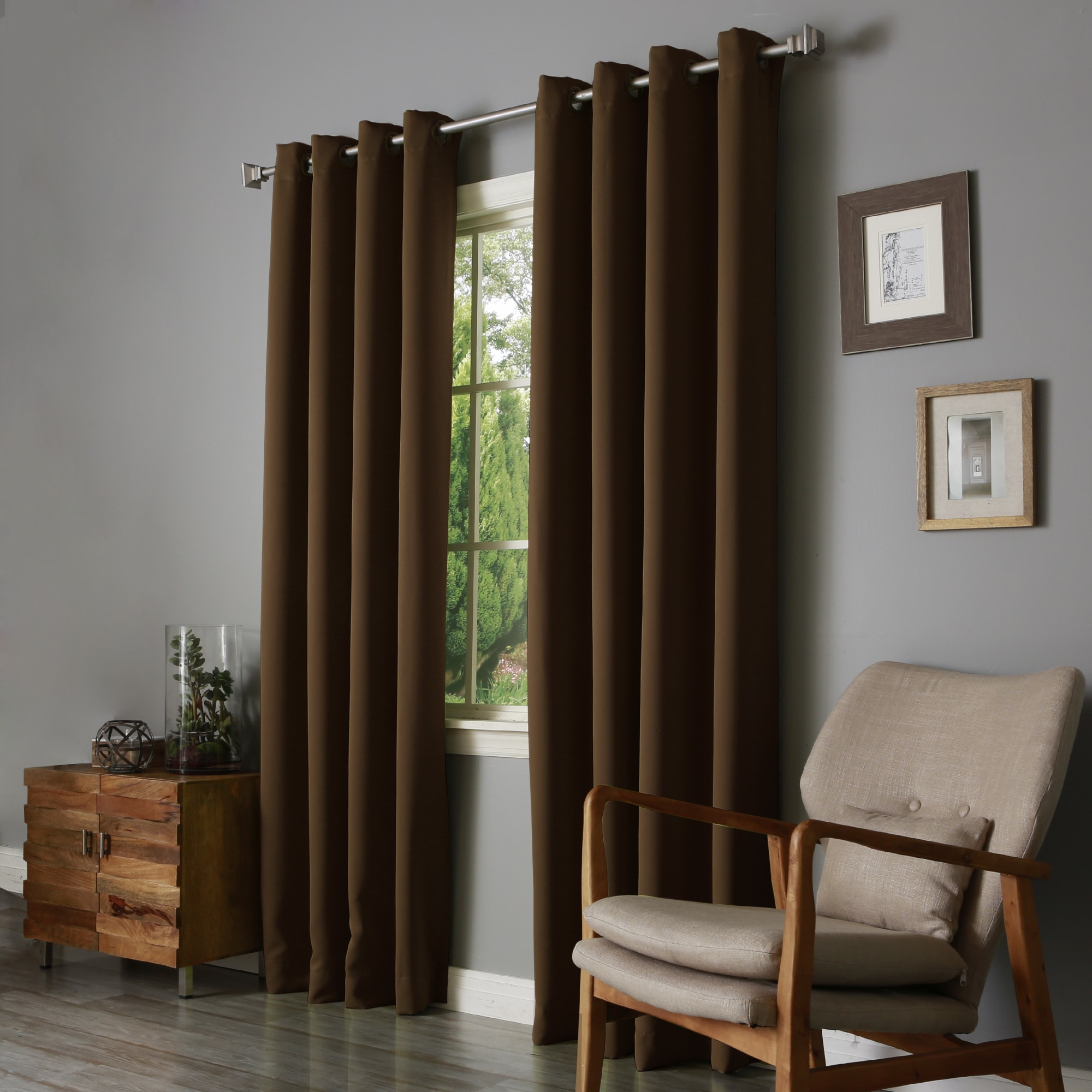 High Quality Aurora Home Thermal Insulated Blackout 90 Inch Grommet Top Curtain Panel  Pair   52 X 90   Free Shipping Today   Overstock.com   17274778
