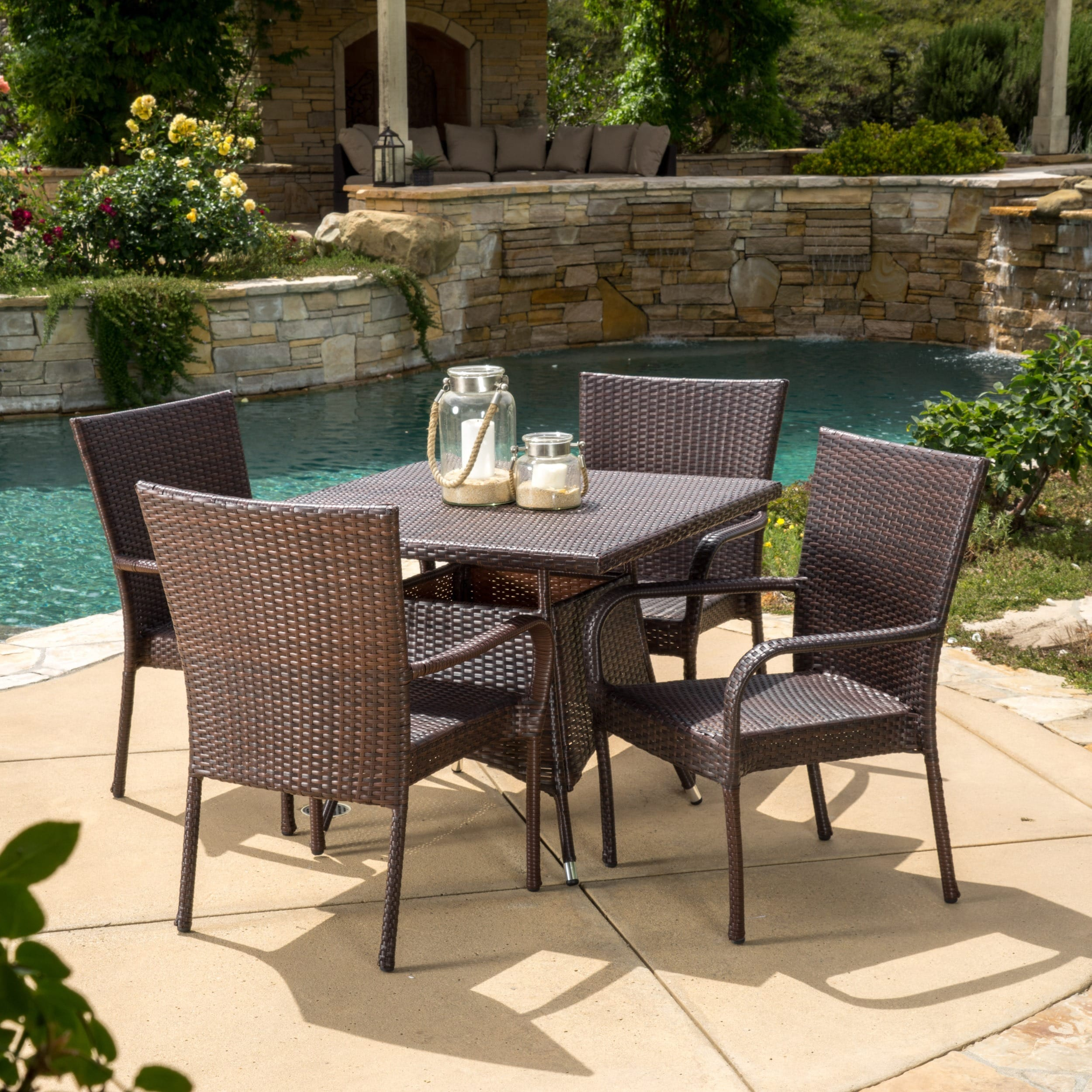 Shop Wesley Outdoor 5 Piece Wicker Dining Set By Christopher Knight Home    On Sale   Free Shipping Today   Overstock.com   10138729