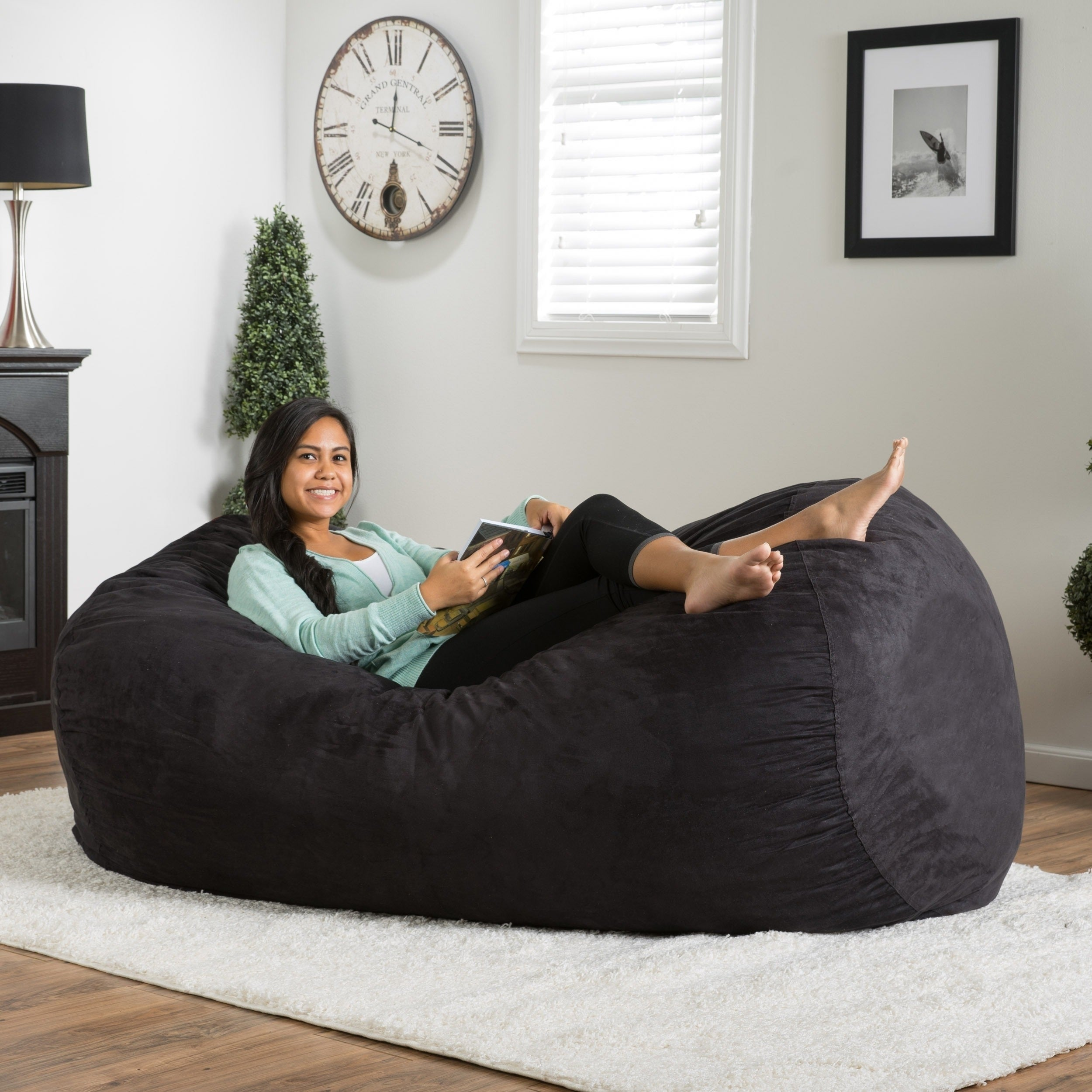 Shop Asher Faux Suede 6 5 Foot Lounge Beanbag Chair By Christopher