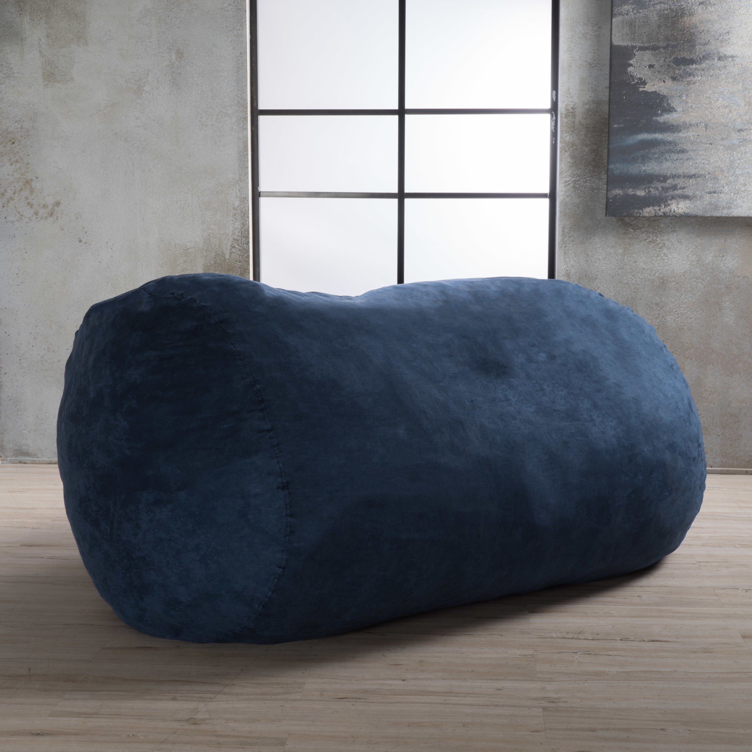 Asher Faux Suede 6.5 Foot Lounge Beanbag Chair By Christopher Knight Home    Free Shipping Today   Overstock   17276085