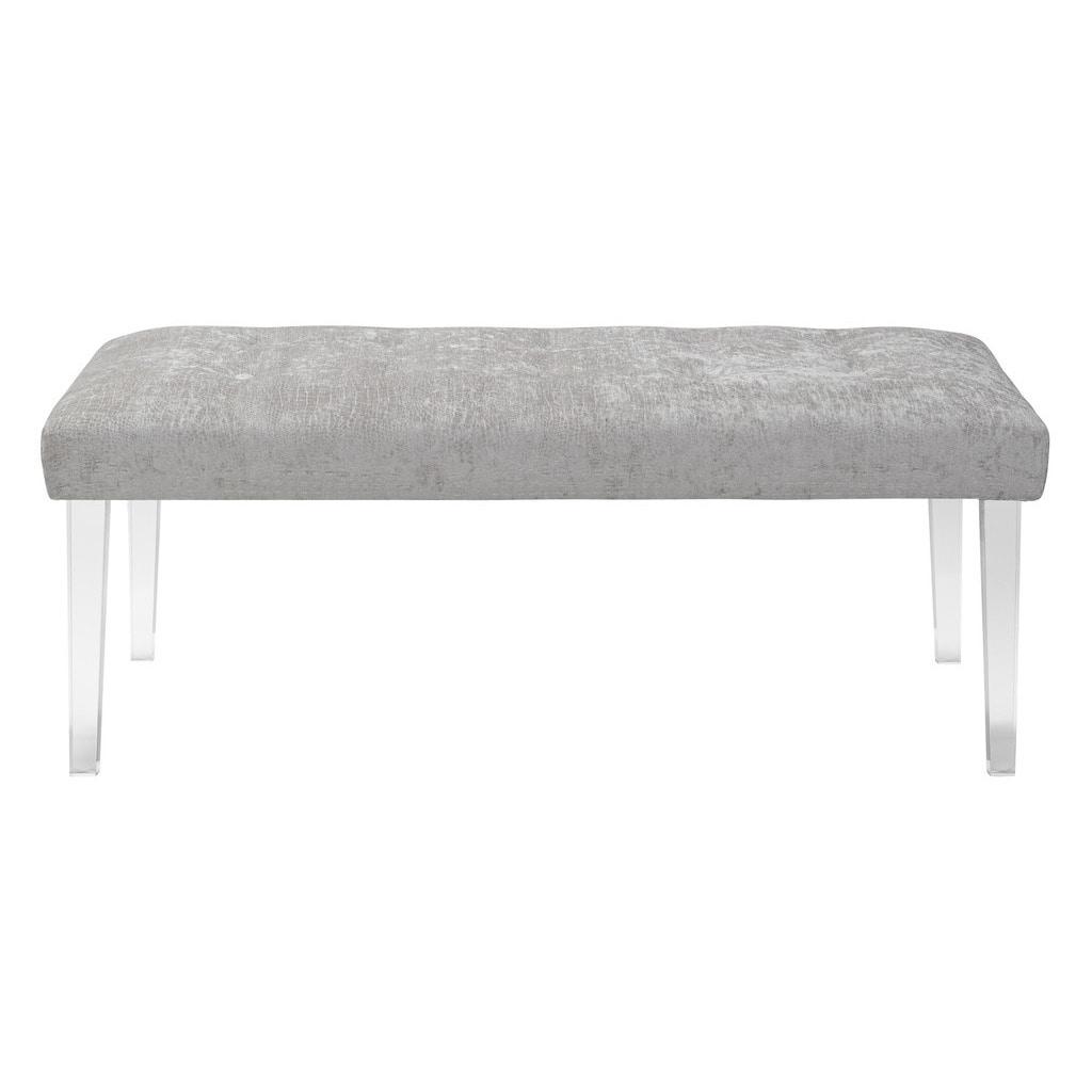 Shop jennifer taylor grey upholstered florida acrylic leg bench free shipping today overstock com 10139074