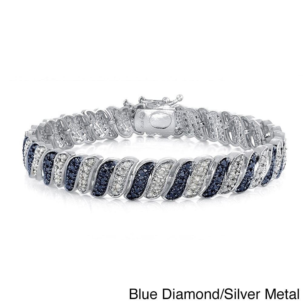 Db Designs 1ct Tdw Black Or Blue And White Diamond Bracelet On Free Shipping Today 10139164
