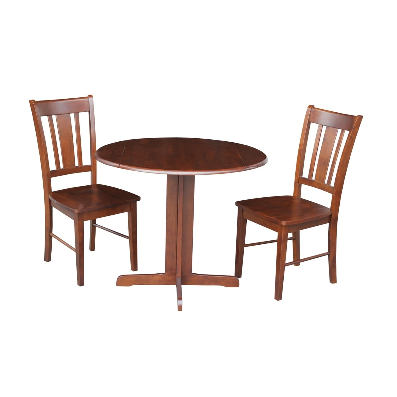 International Concepts Dual Drop Leaf 36 Inch Dining Table With Two San Remo Chairs In Espresso Free Shipping Today 17279248