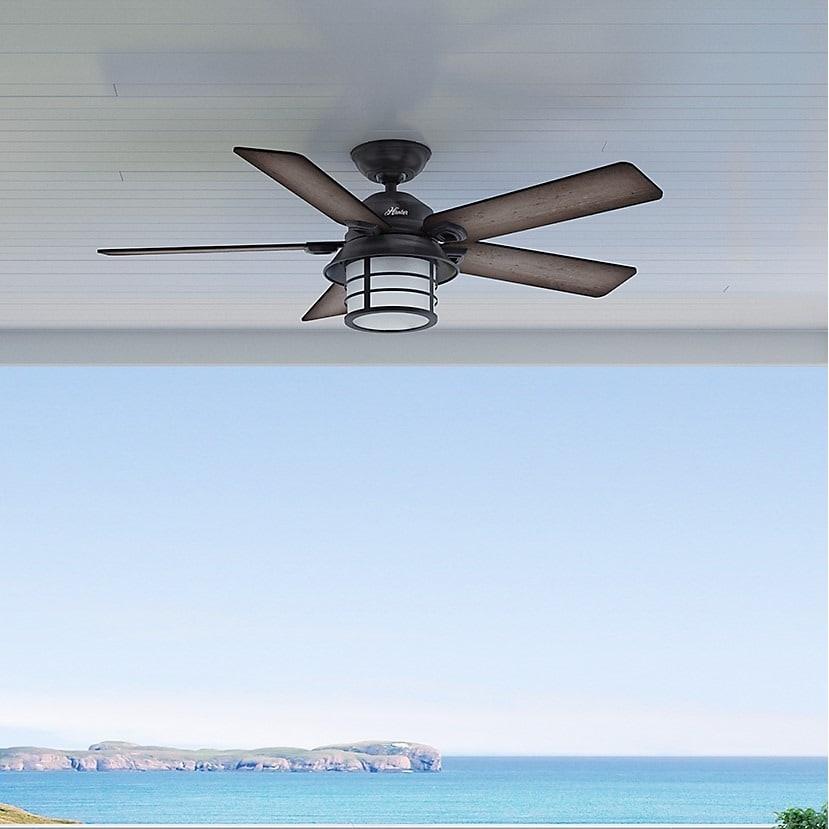Hunter Key Biscayne Weathered Zinc 5 Blade Ceiling Fan Grey Pine