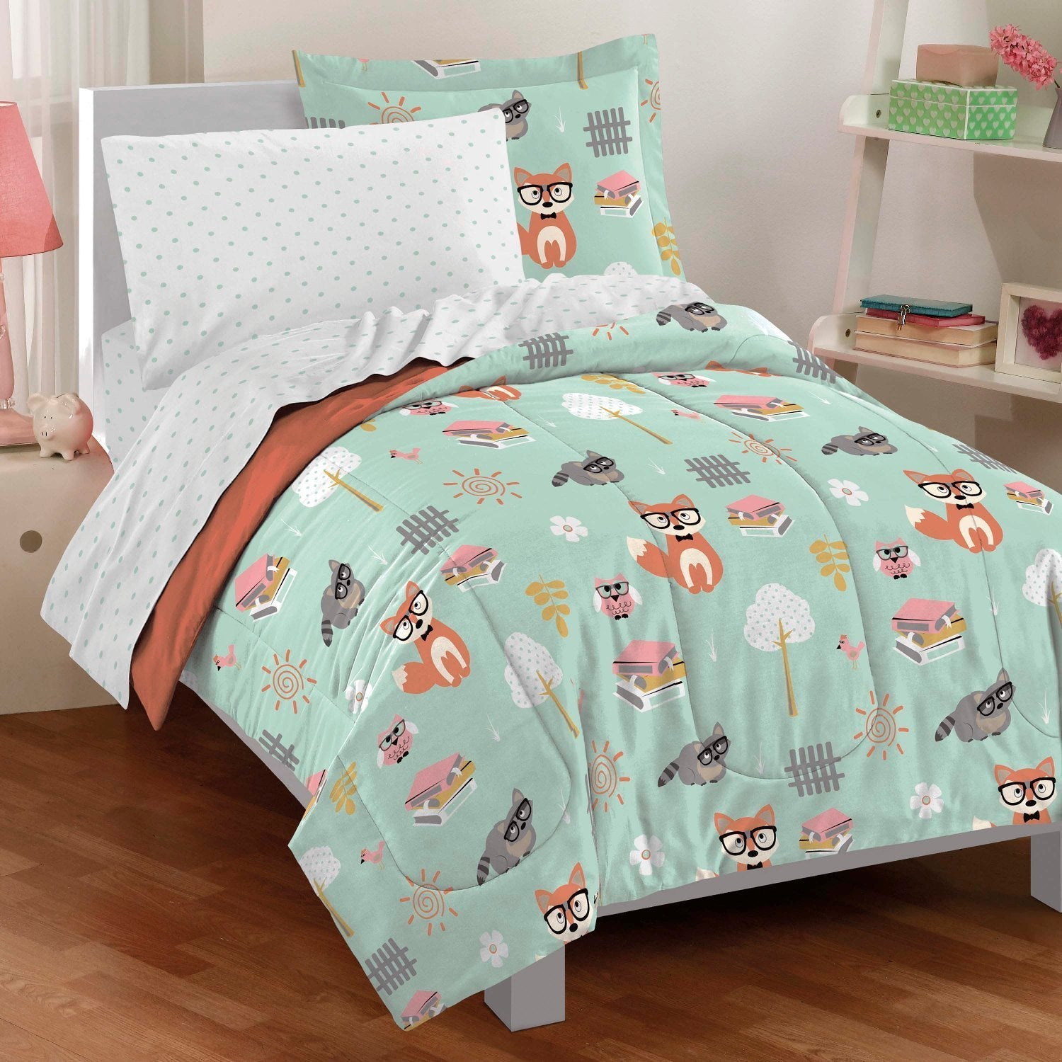 Shop Dream Factory Woodland Friends Twin Bed In A Bag With Sheet Set   Free  Shipping Today   Overstock.com   10151527
