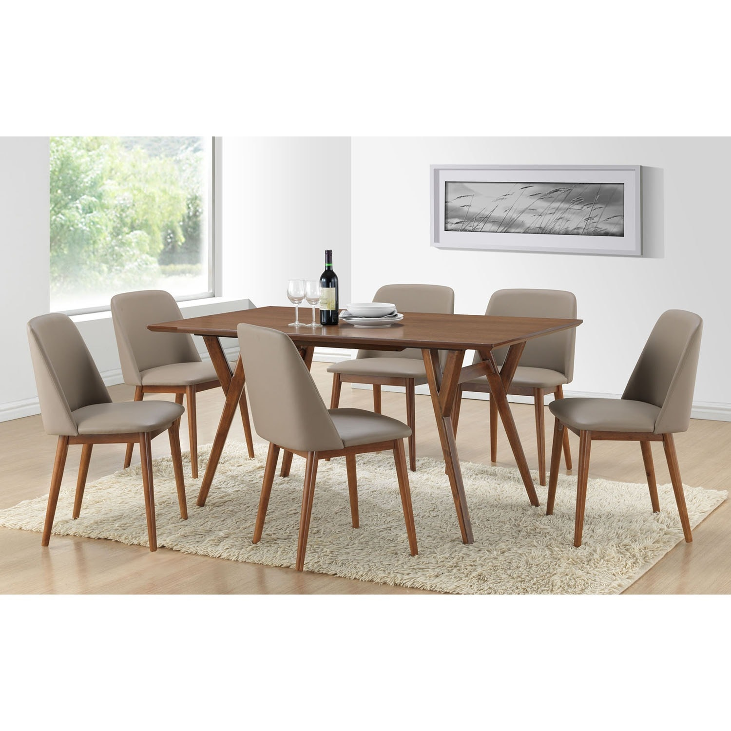 Captivating Lavin Mid Century Solid Wood 7 Piece Dining Set   Free Shipping Today    Overstock   17281507