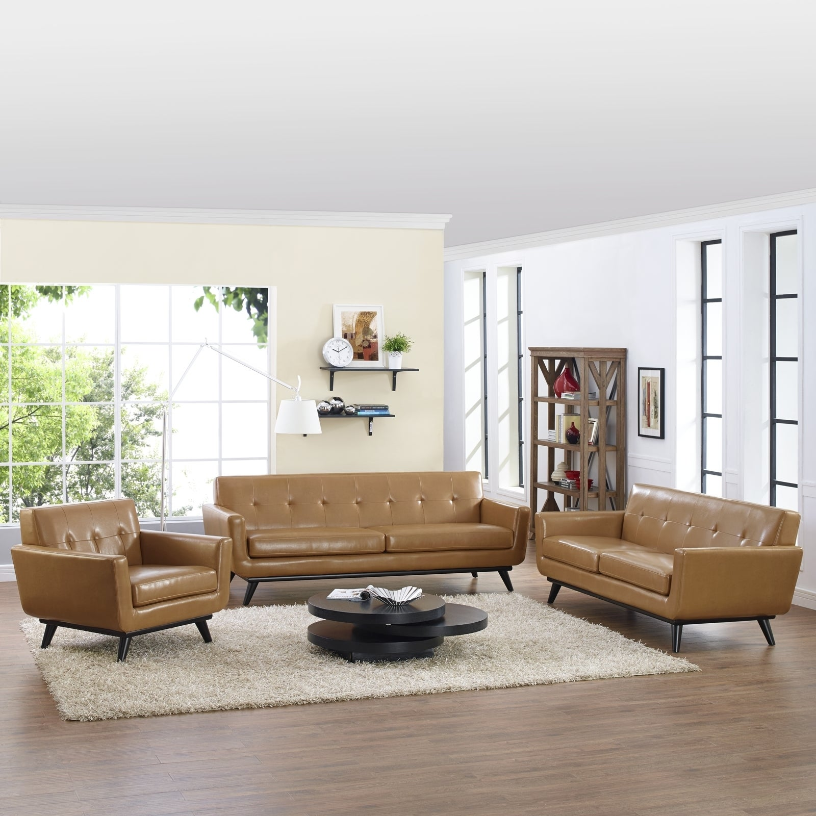Absorb 3-piece Leather Living Room Set - 3piece - Free Shipping ...