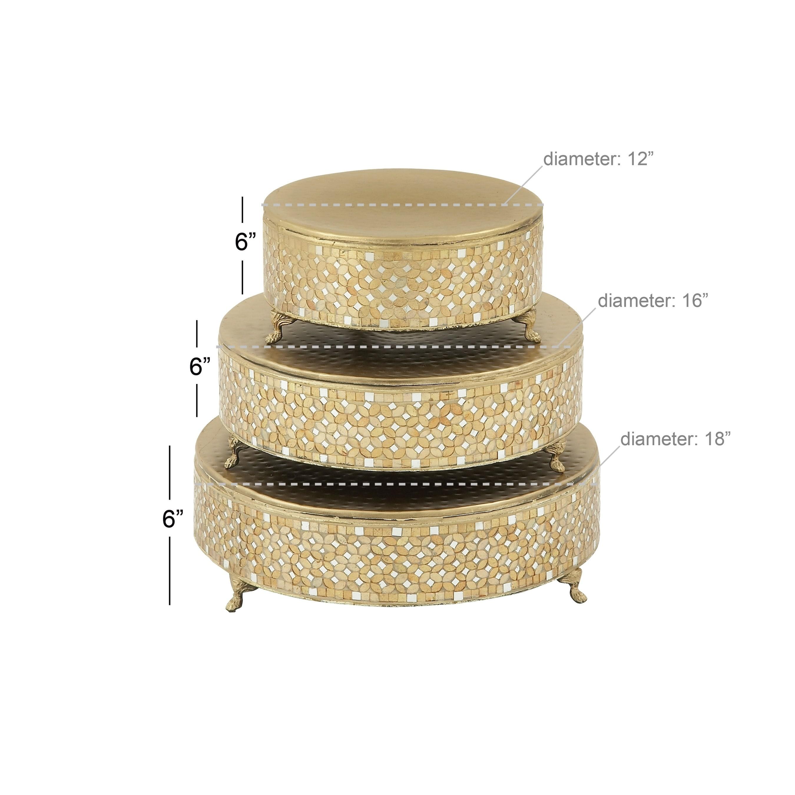 Shop Set of 3 Modern 12, 16 and 18 Inch Mosaic Cake Stands by Studio ...