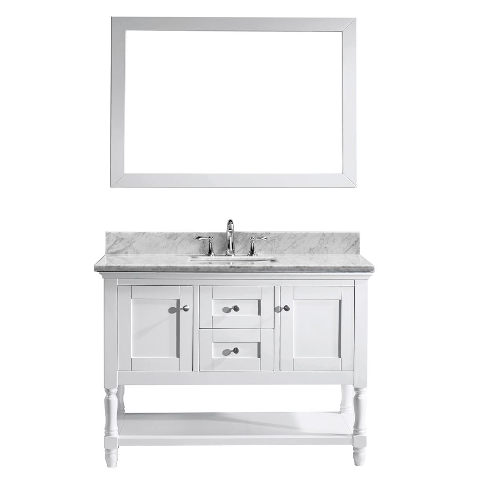 Exceptional Virtu USA Julianna 48 Inch Italian Carrara White Marble Single Bathroom  Vanity Cabinet Set   Free Shipping Today   Overstock   17282103
