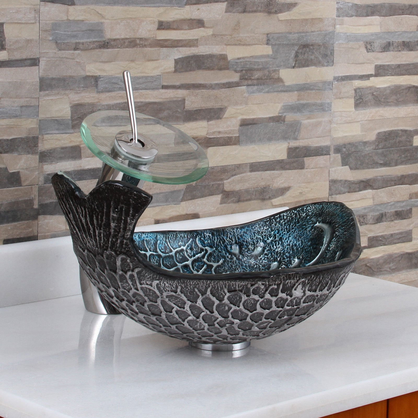 Elite Pacific Whale+F22T Pattern Tempered Glass Bathroom Vessel ...