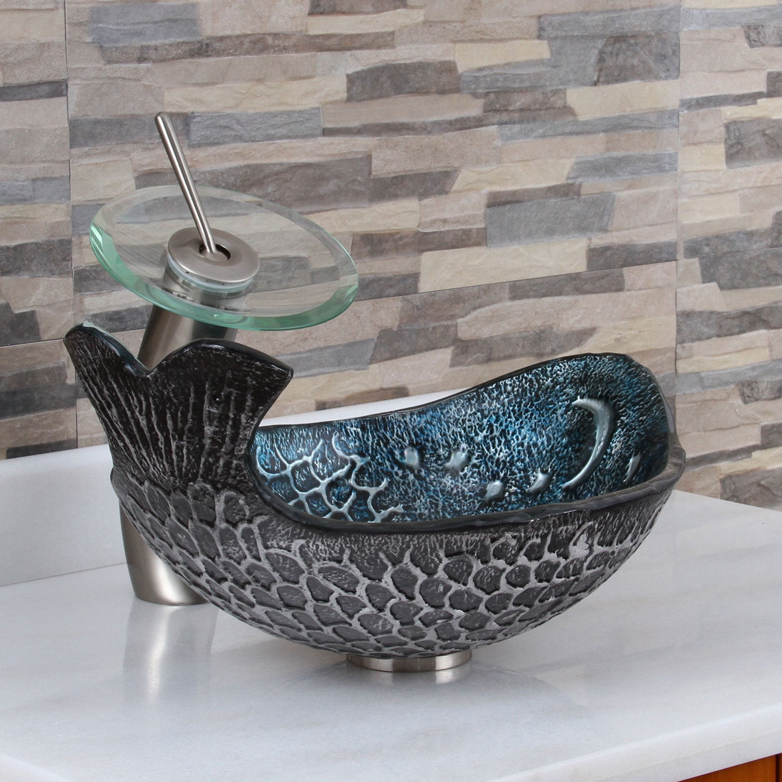 Elite Pacific Whale+F22T Pattern Tempered Glass Bathroom Vessel Sink ...