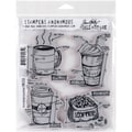 Tim Holtz Cling Rubber Stamp Set 7inX8.5inFresh Brewed Blueprint