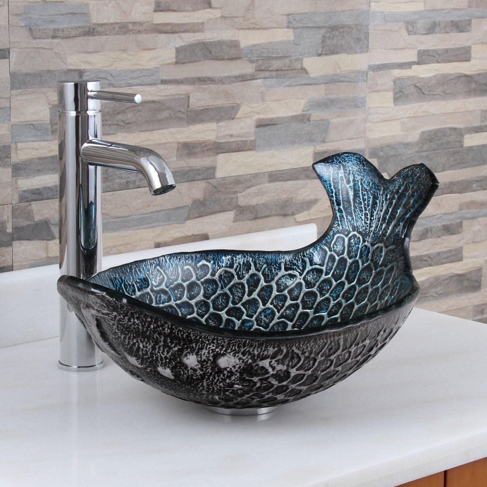 Elite Pacific Whale+F371023 Pattern Tempered Glass Bathroom Vessel ...