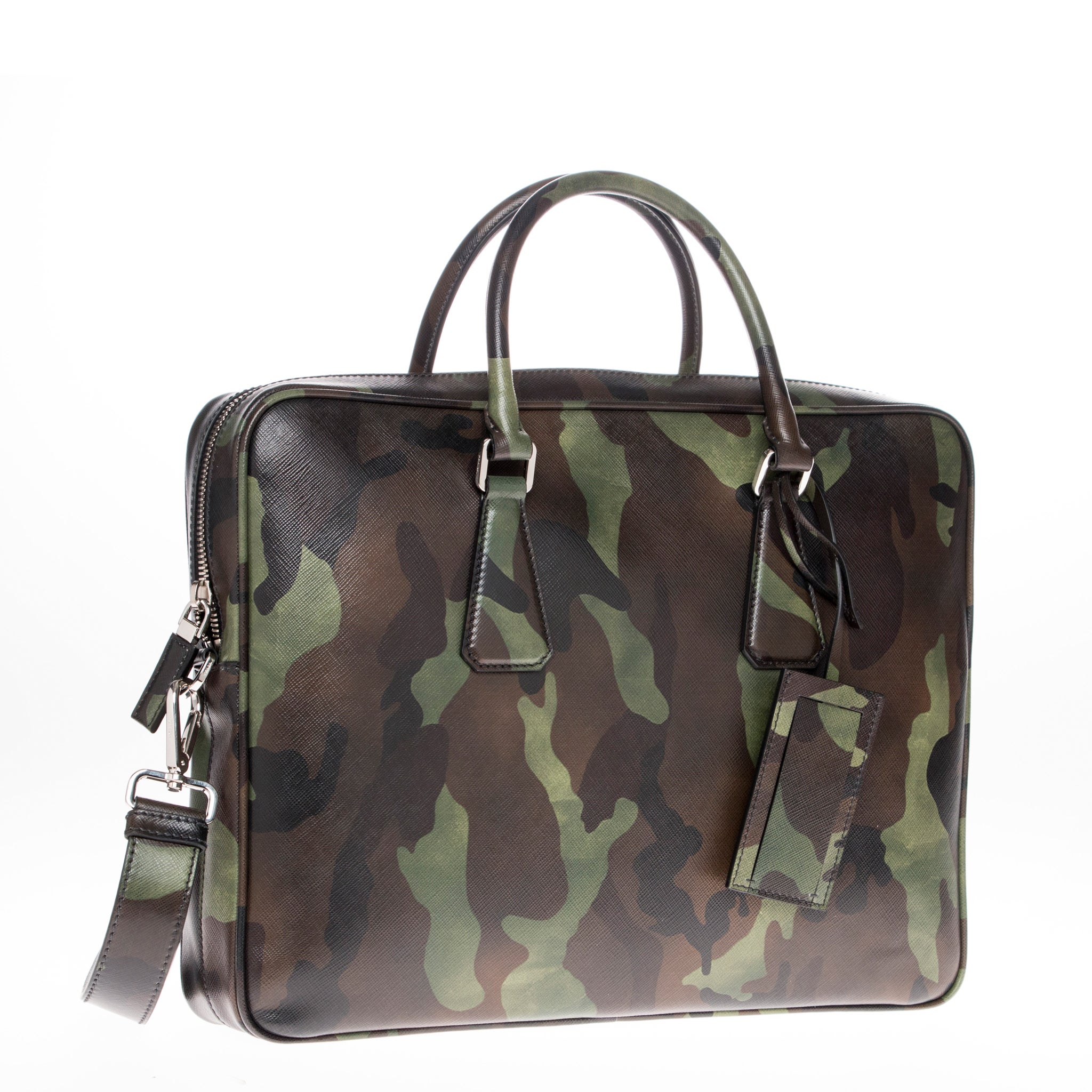 a79d9a5665f3 Shop Prada Camouflage Print Saffiano Leather Briefcase (As Is Item) - Free  Shipping Today - Overstock - 12832349