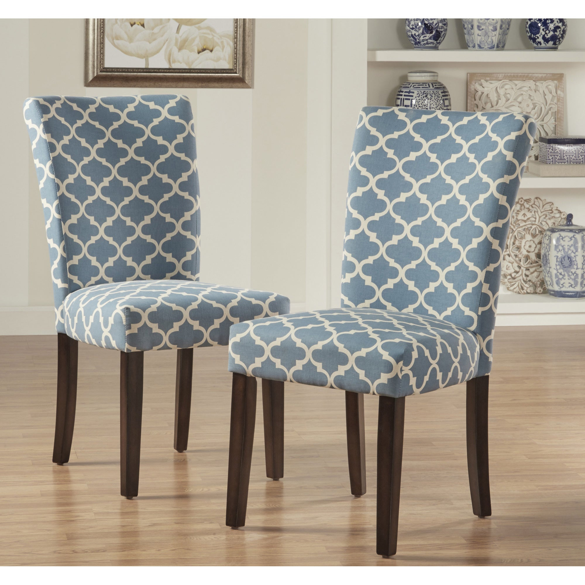 Shop Catherine Moroccan Pattern Fabric Parsons Dining Chair (Set of 2) by iNSPIRE Q Bold - On Sale - Free Shipping Today - Overstock.com - 10155882 & Shop Catherine Moroccan Pattern Fabric Parsons Dining Chair (Set of ...