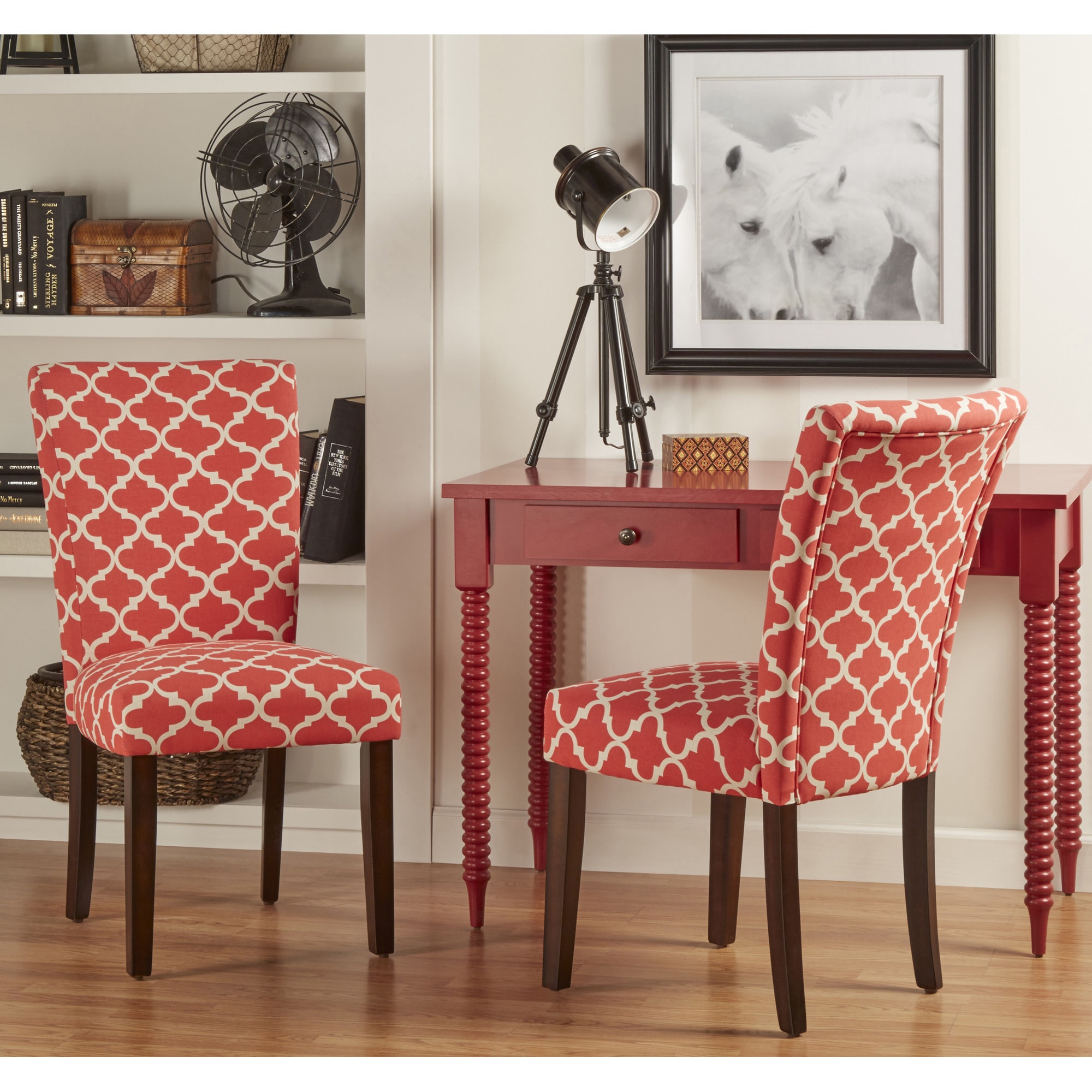Shop Catherine Moroccan Pattern Fabric Parsons Dining Chair Set Of