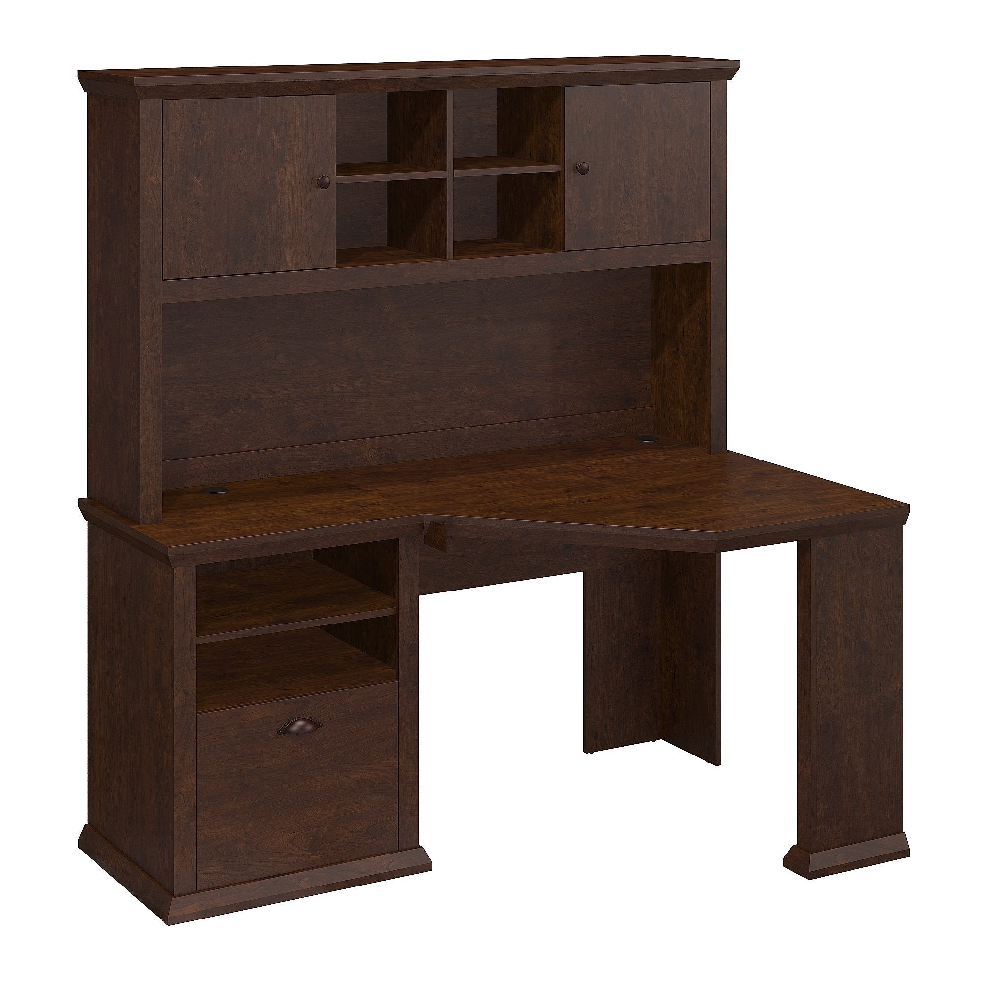 Bush Furniture Yorktown Corner Desk With Hutch In Antique Cherry   Free  Shipping Today   Overstock.com   17285842