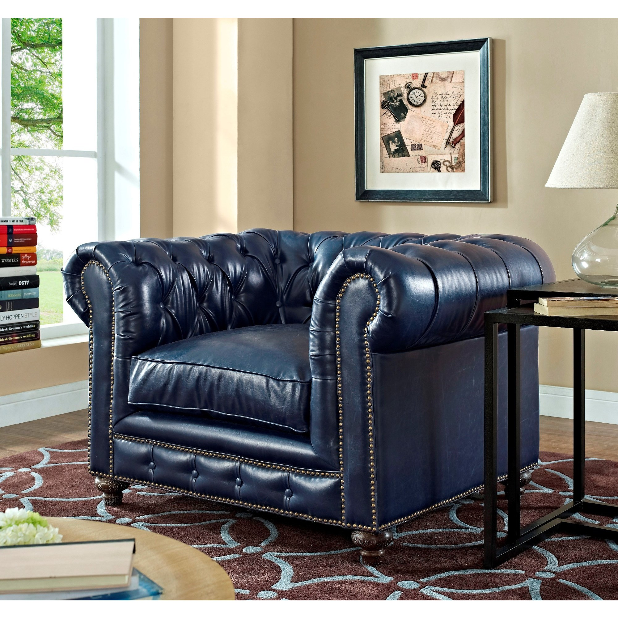 Shop Durango Rustic Blue Leather Living Room Set   Free Shipping Today    Overstock.com   10156789