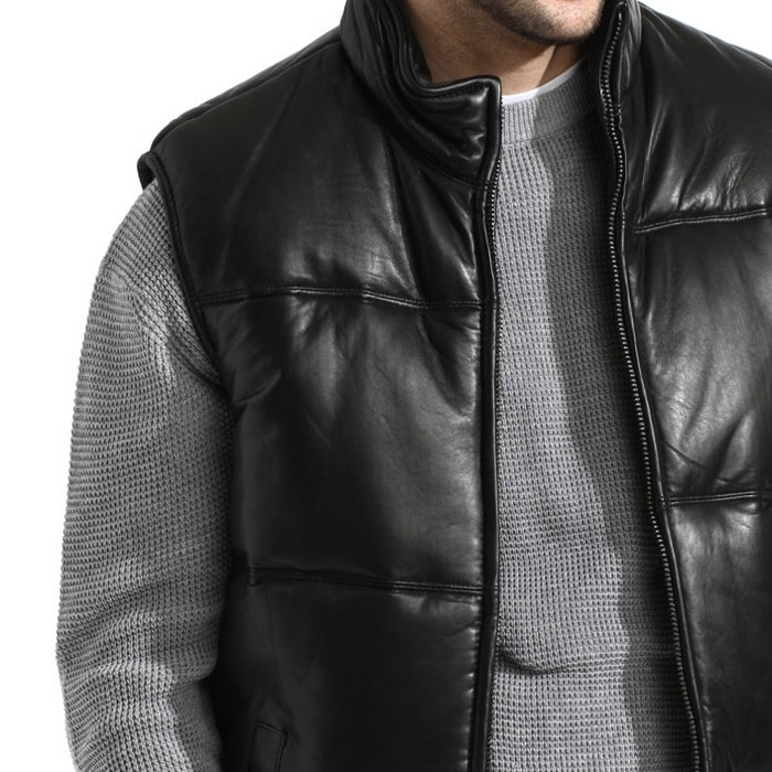 Greatest Men's Black Lambskin Leather Puffer Vest - Free Shipping Today  QW26