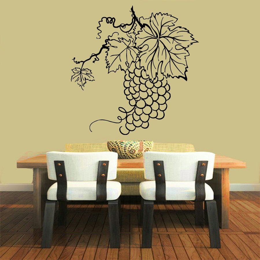 Black Grapes Wine Vinyl Sticker Wall Art - Free Shipping On Orders ...