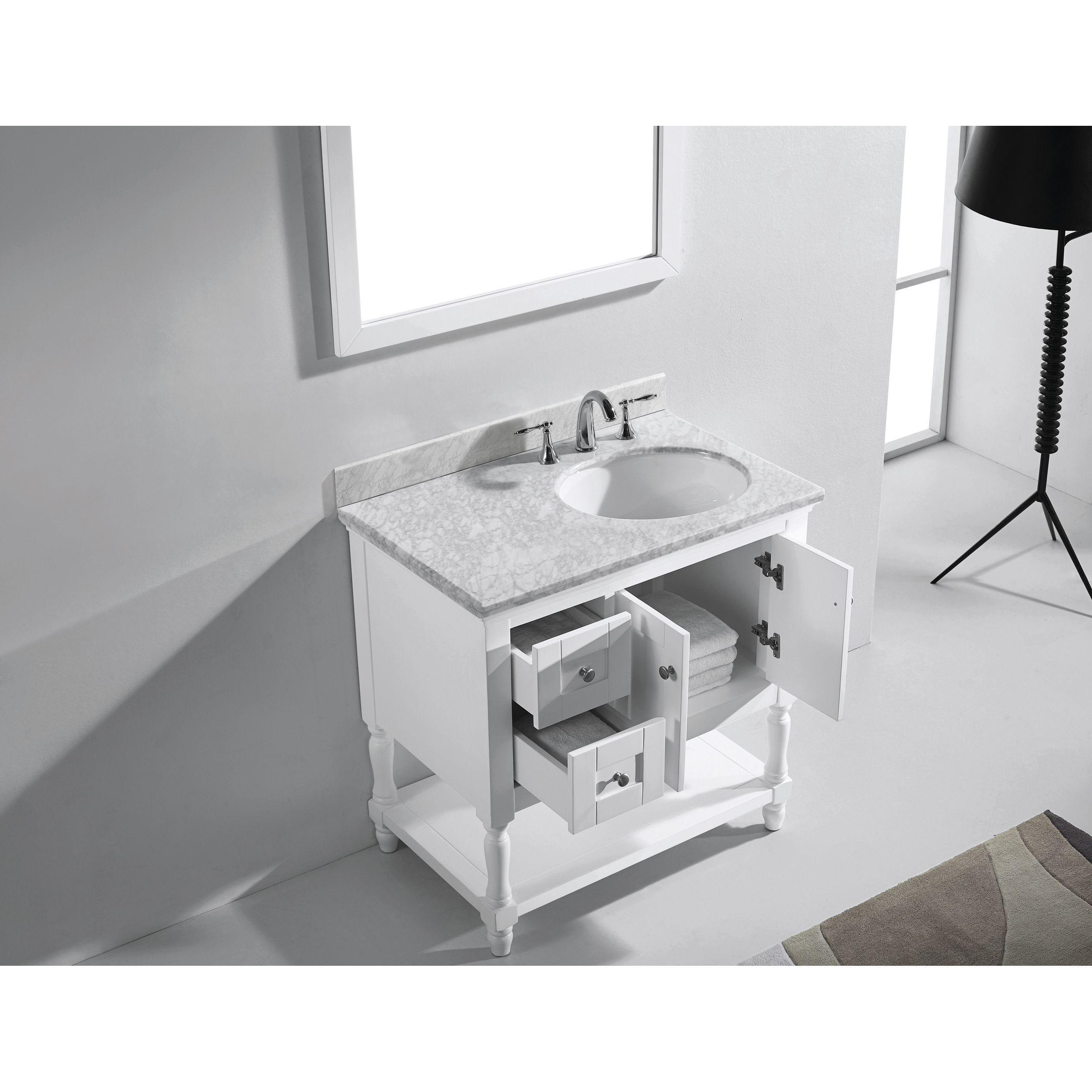 Julianna 36-inch Italian Carrara White Marble Single Bathroom Vanity ...