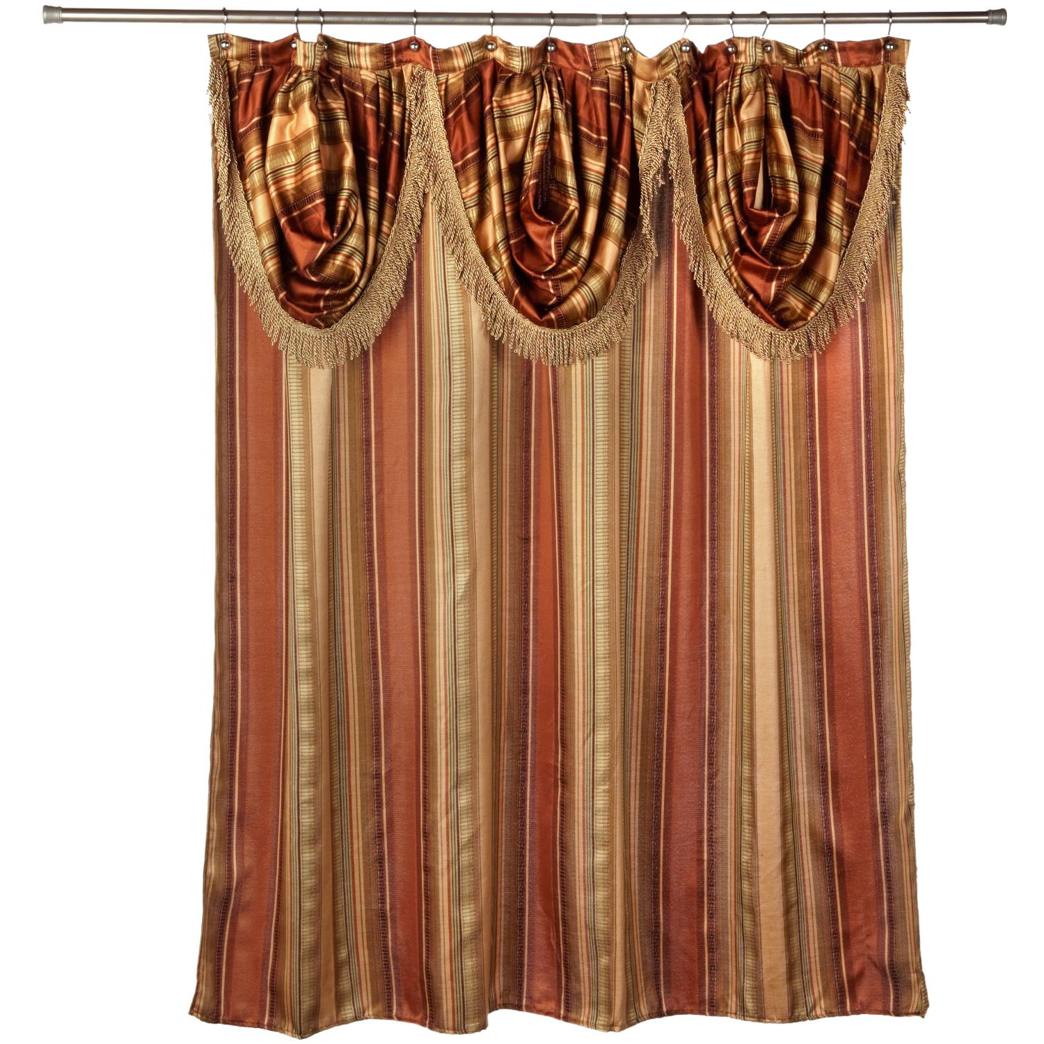 Shop ultra modern shower curtain with valance and hooks set or separates on sale free shipping on orders over 45 overstock com 10160487