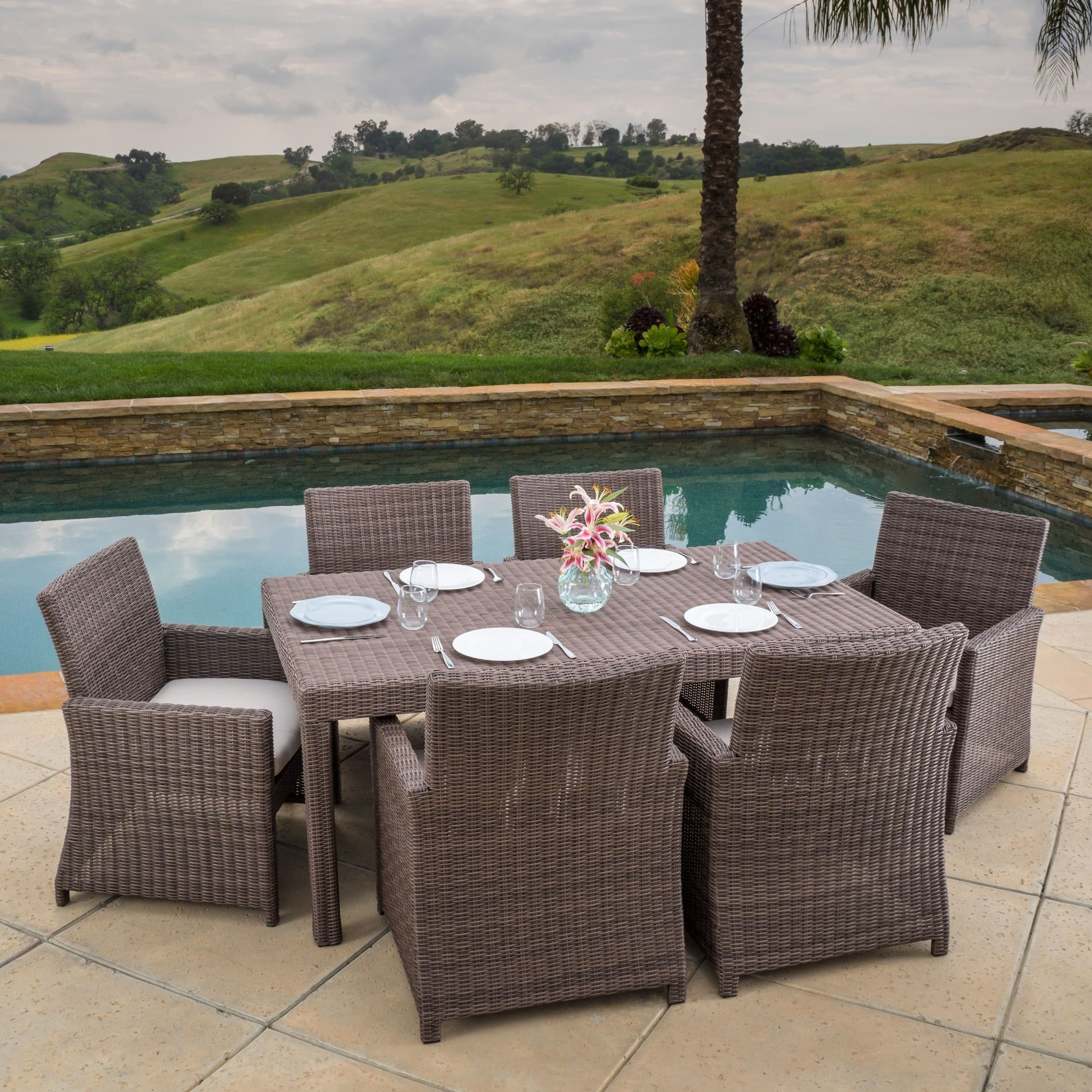 Barcelona outdoor 7 piece aluminum dining set with sunbrella cushions by christopher knight home