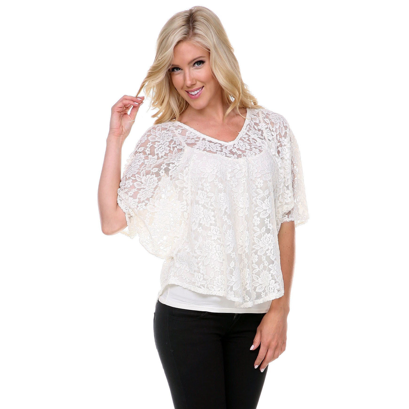 86f47d8d40a Shop Stanzino Women s Lace 3 4 Sleeve Blouse - Free Shipping On Orders Over   45 - Overstock - 10160579