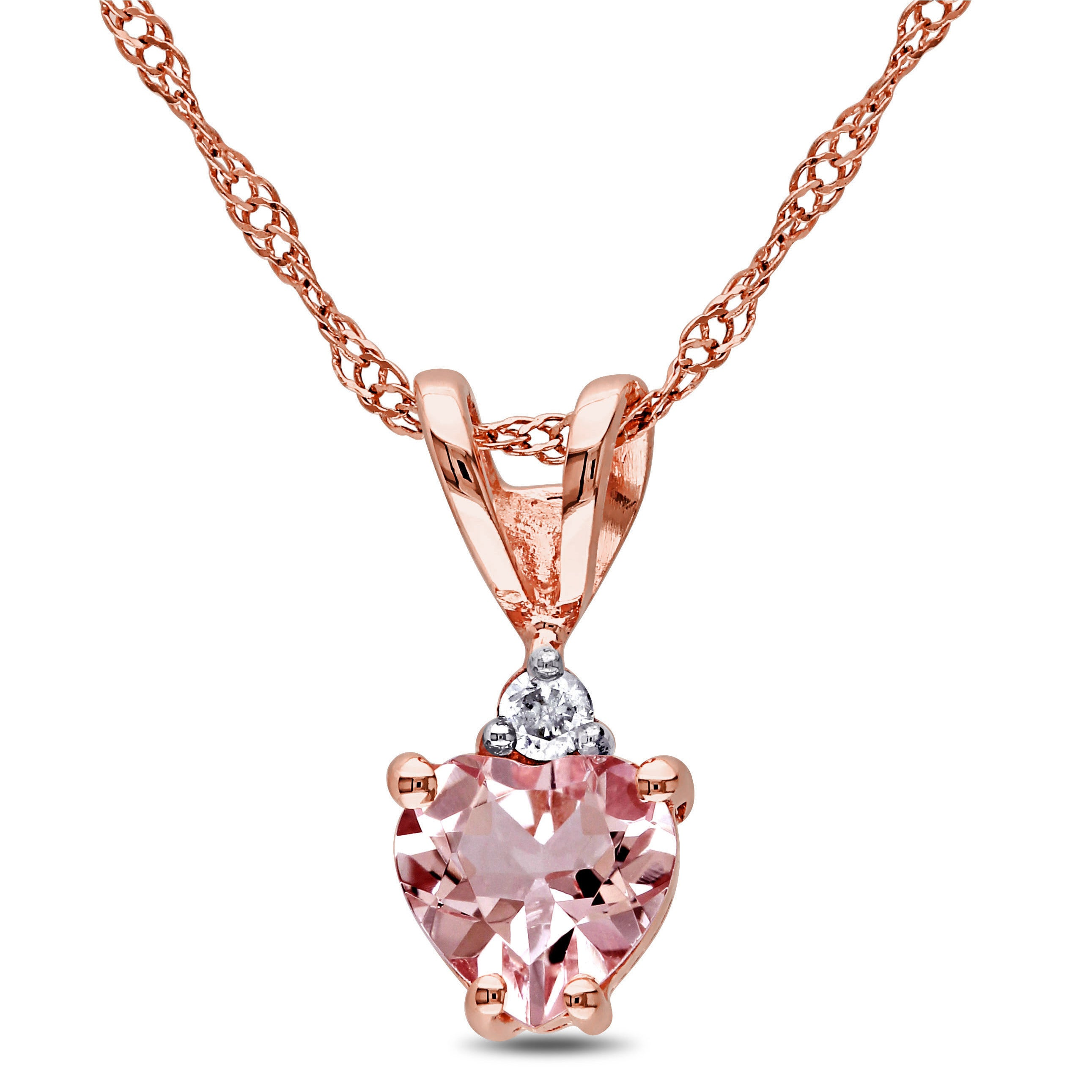 morganite necklace in pendant diamonds with rose gold colore oro