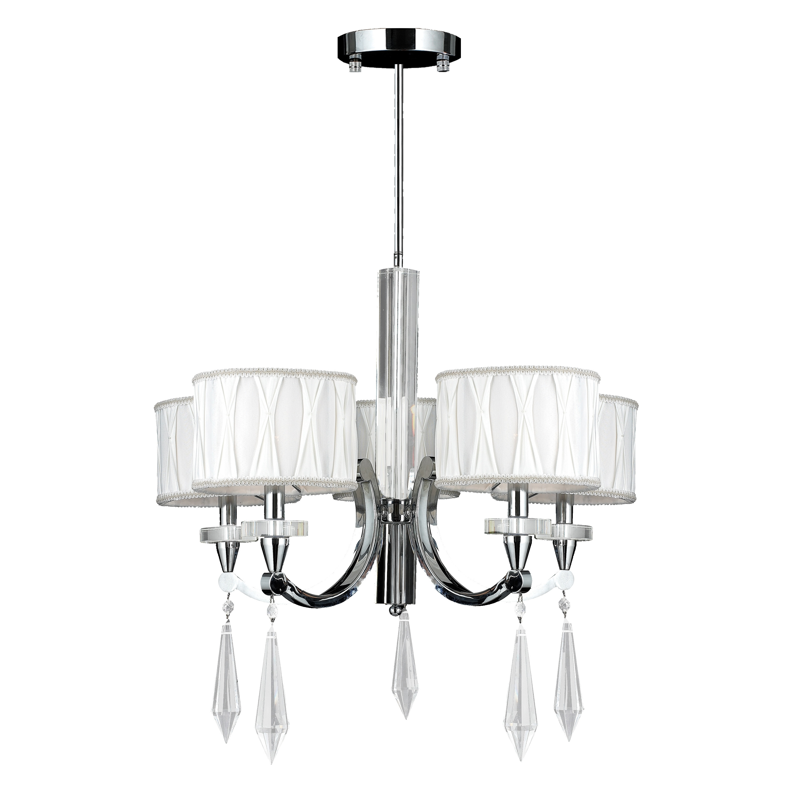 Cutlass 5 Light Arm Chrome Finish Clear Crystal Large Chandelier White Fabric Shade Free Today Com 10163171