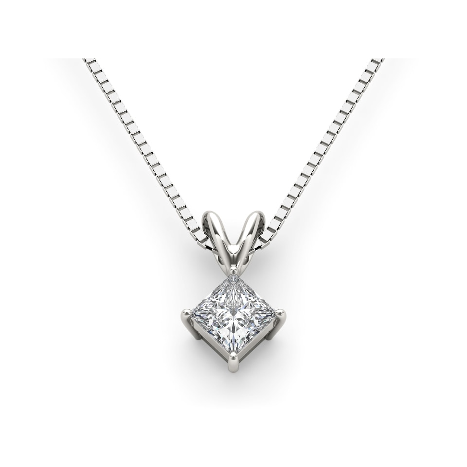Shop de couer 14k white gold diamond princess cut diamond solitaire shop de couer 14k white gold diamond princess cut diamond solitaire necklace white h i on sale free shipping today overstock 10163314 aloadofball Images